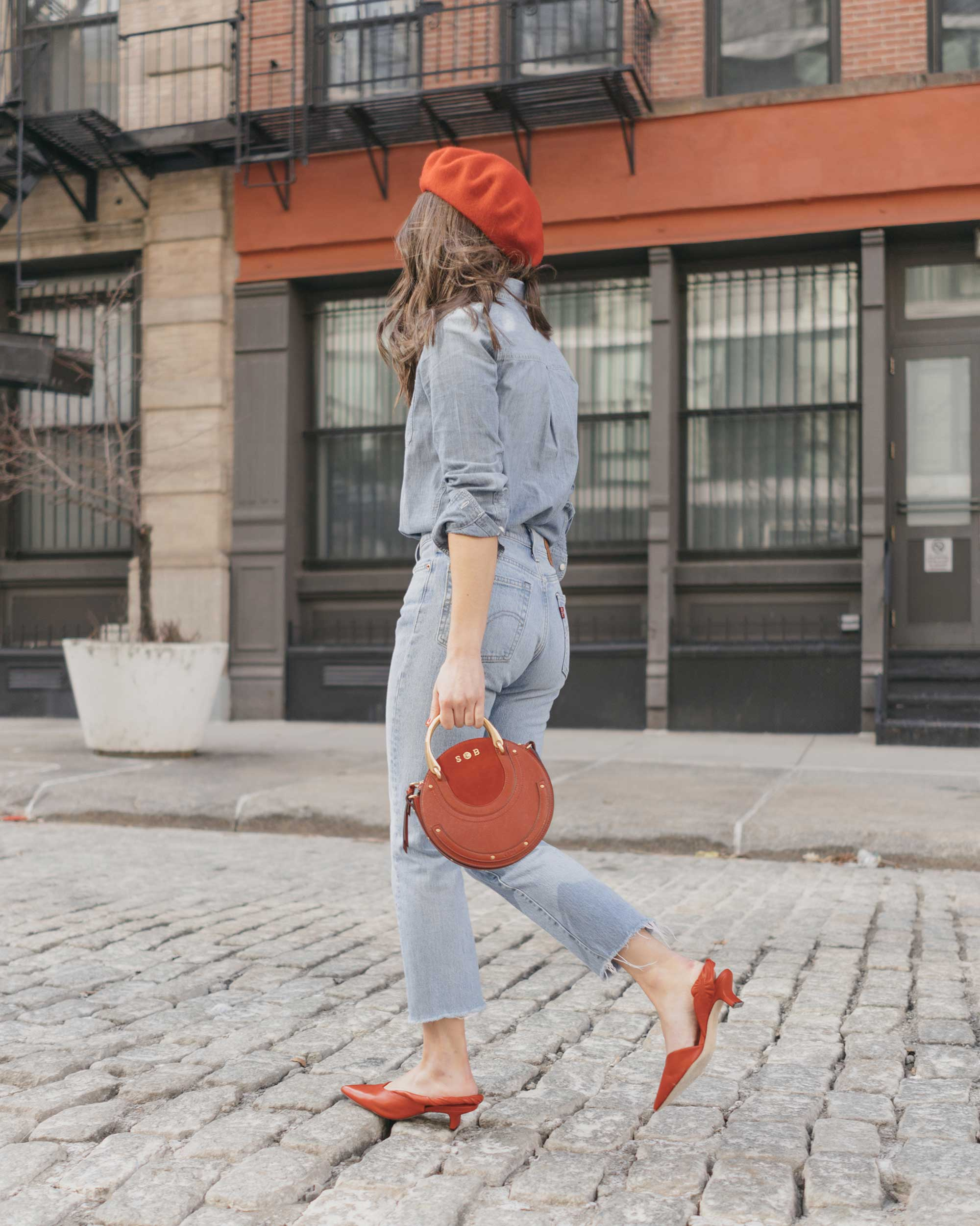 Madewell-Chambray-Boyfriend-Shirt--Levi's-Wedgie-High-Rise-Straight-Jeans-Chloe-Pixie-Leather-Crossbody-Bag-Sigerson-Morrison-Red-Slingback-Pump-5.jpg