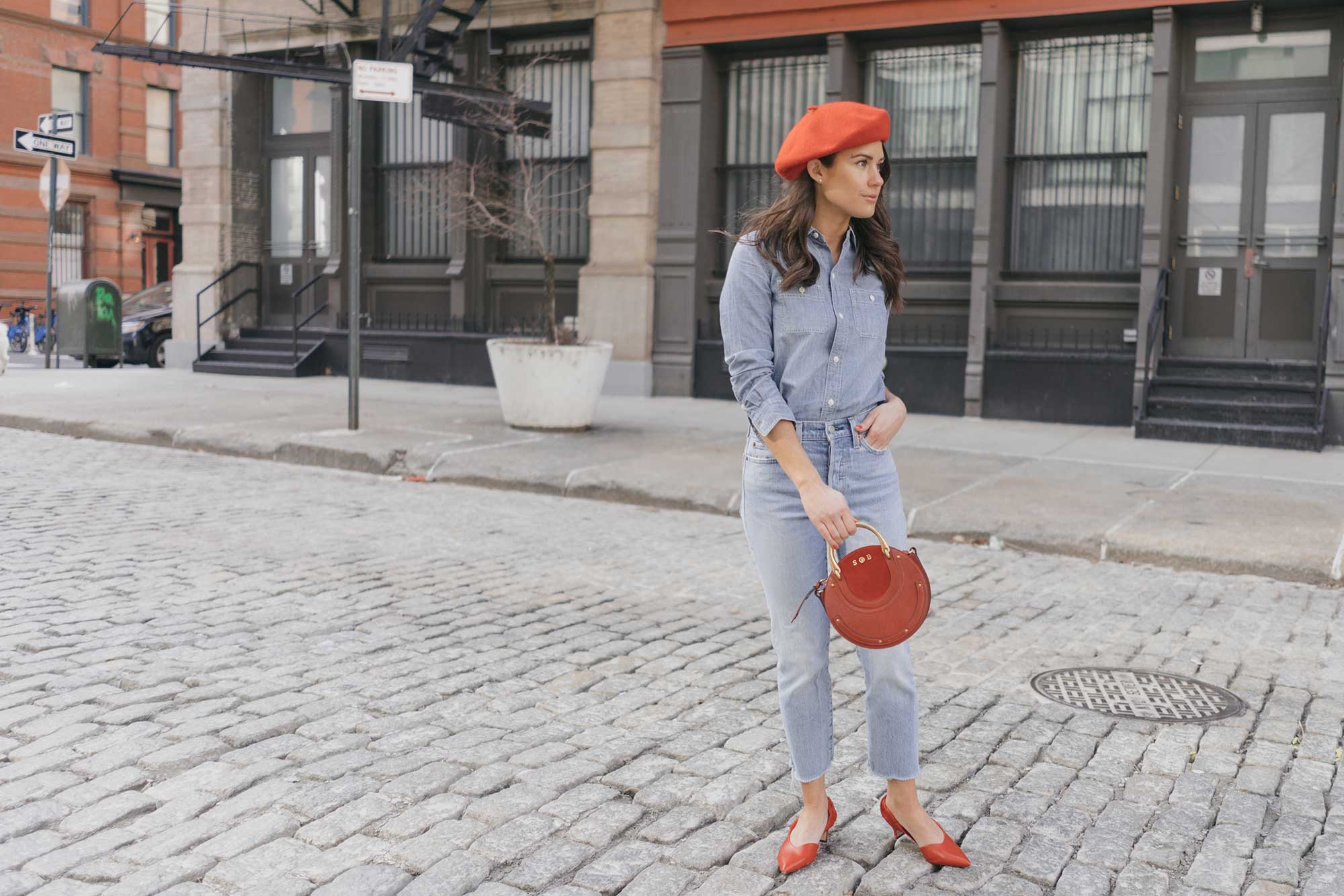 Madewell-Chambray-Boyfriend-Shirt--Levi's-Wedgie-High-Rise-Straight-Jeans-Chloe-Pixie-Leather-Crossbody-Bag-Sigerson-Morrison-Red-Slingback-Pump-2.jpg