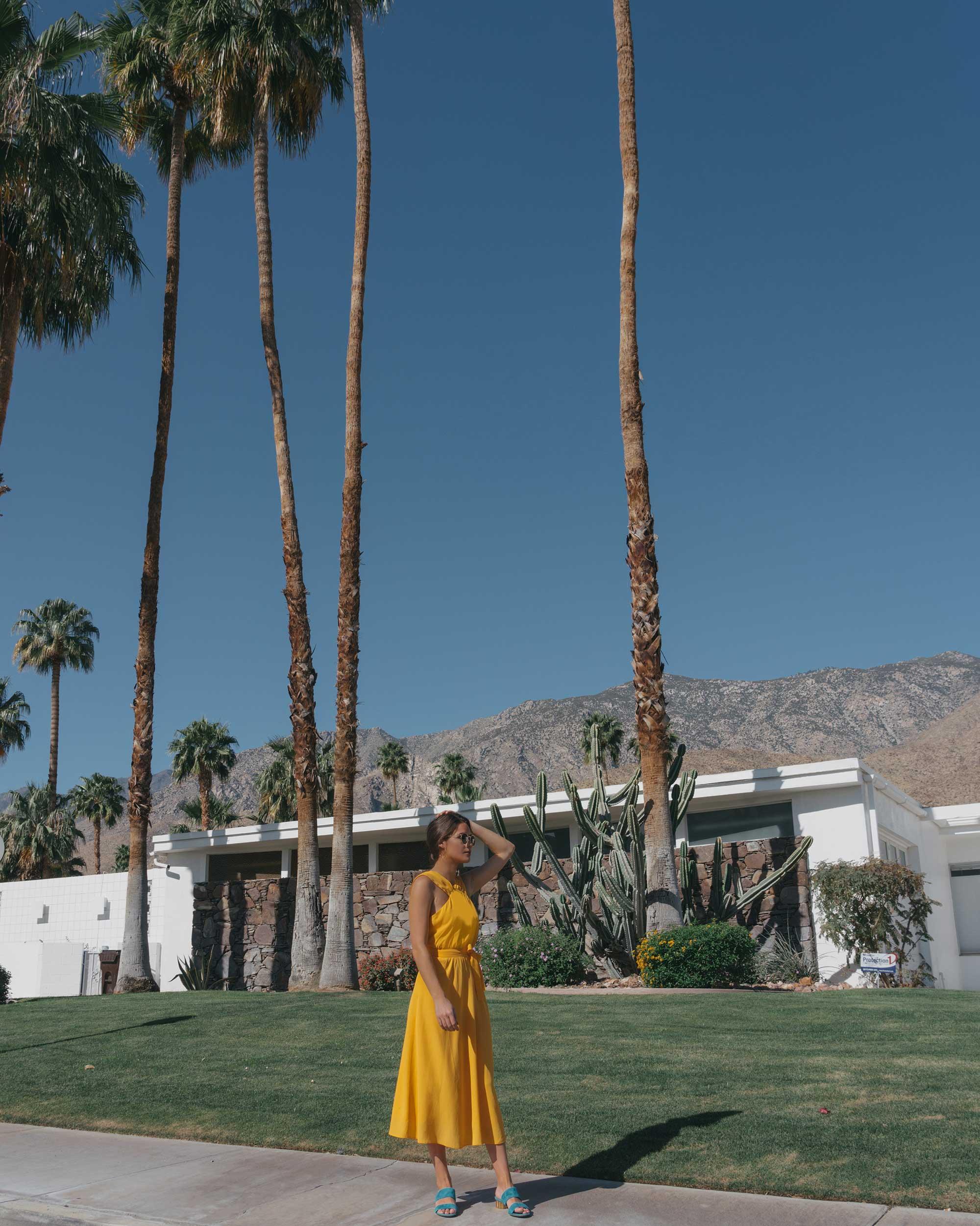Feminine Yellow Cross Front Midi Dress Palm Springs Outfit10.jpg