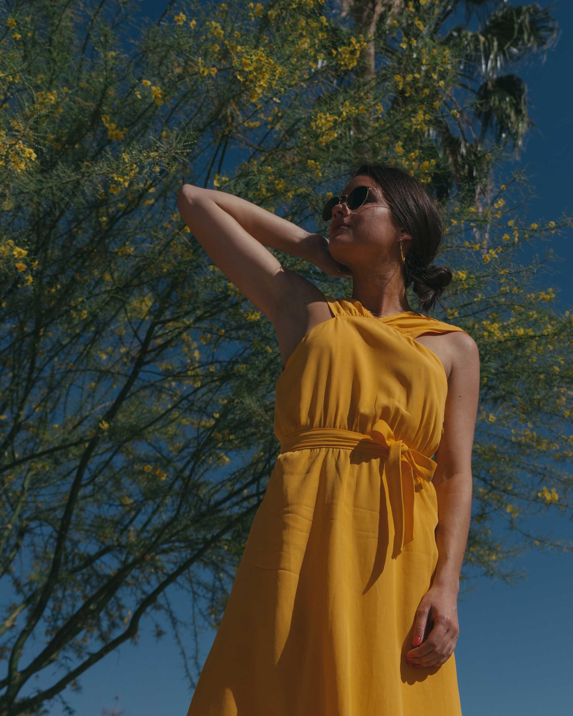 Feminine Yellow Cross Front Midi Dress Palm Springs Outfit8.jpg