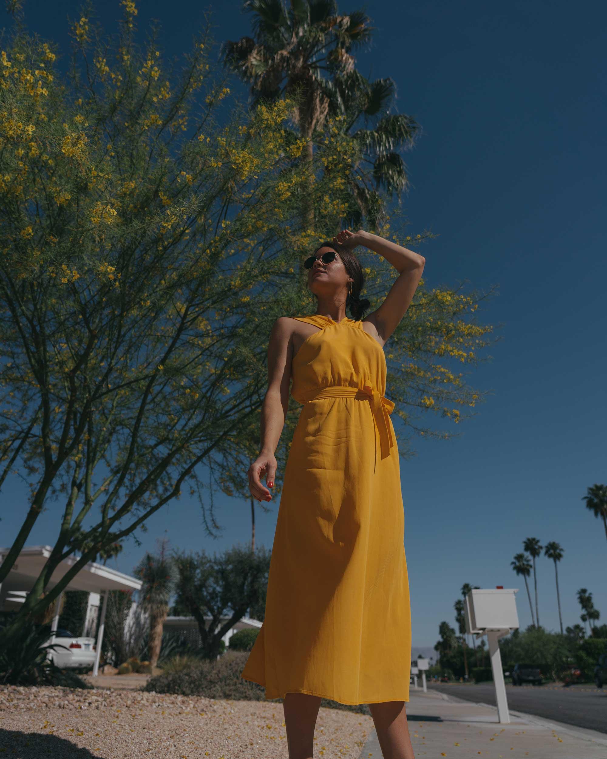 Feminine Yellow Cross Front Midi Dress Palm Springs Outfit6.jpg