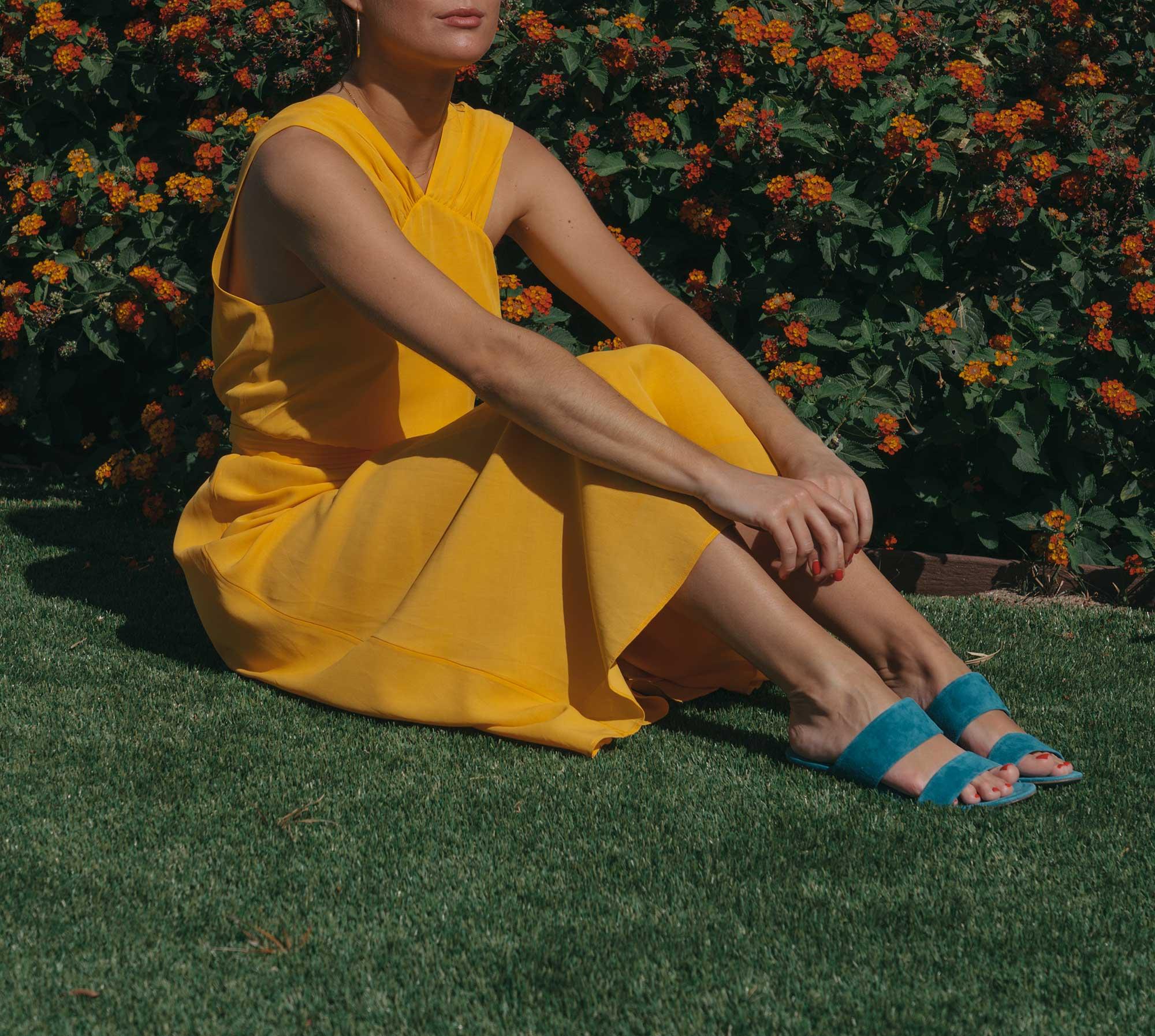 Feminine Yellow Cross Front Midi Dress Palm Springs Outfit2.jpg