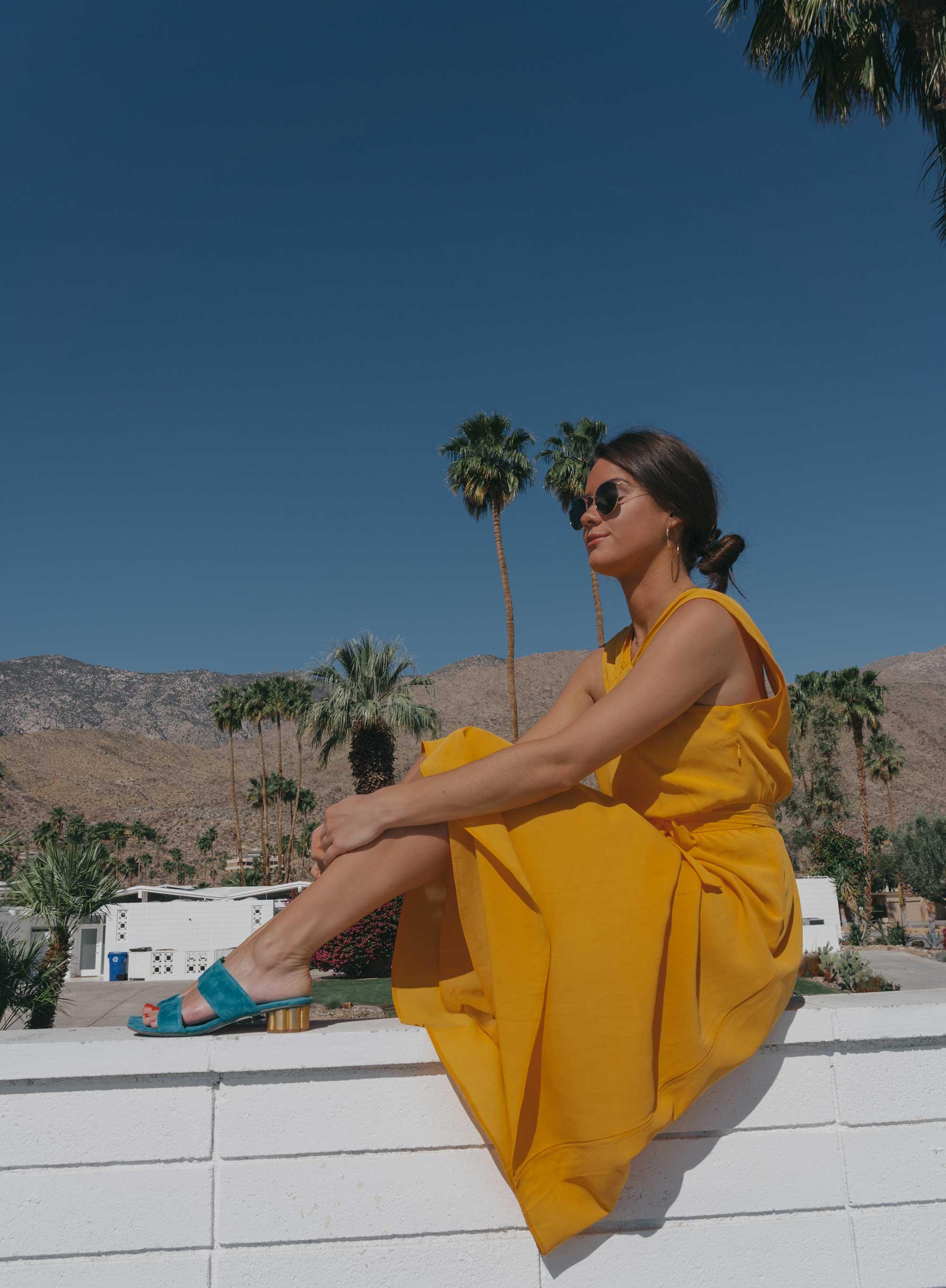 Feminine Yellow Cross Front Midi Dress Palm Springs Outfit1.jpg