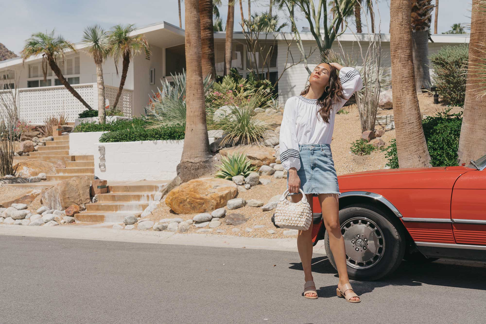 Road Trip Palm Springs Outfit Poplin Top and High Rise Denim Mini Skirt7.jpg