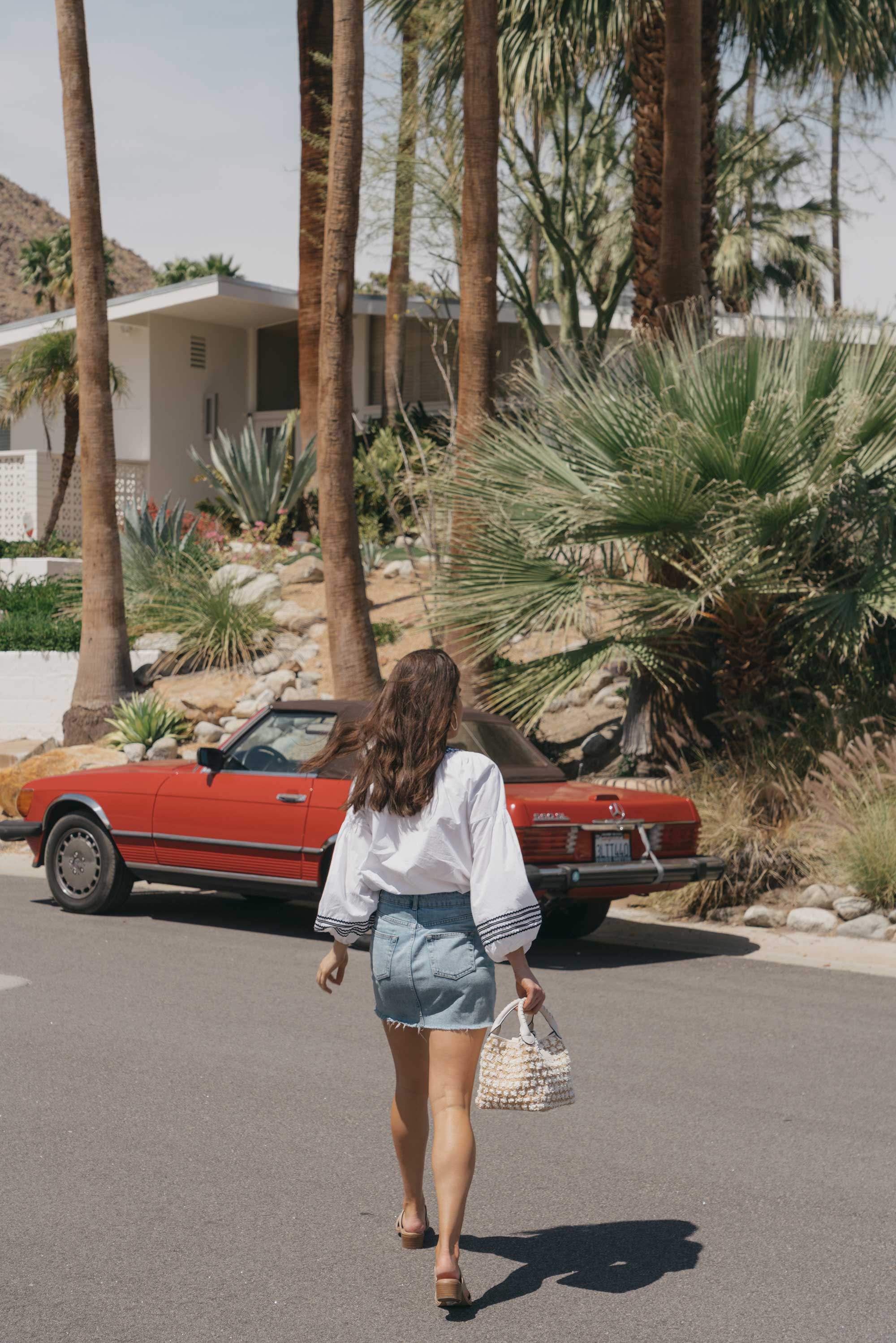 Road Trip Palm Springs Outfit Poplin Top and High Rise Denim Mini Skirt9.jpg