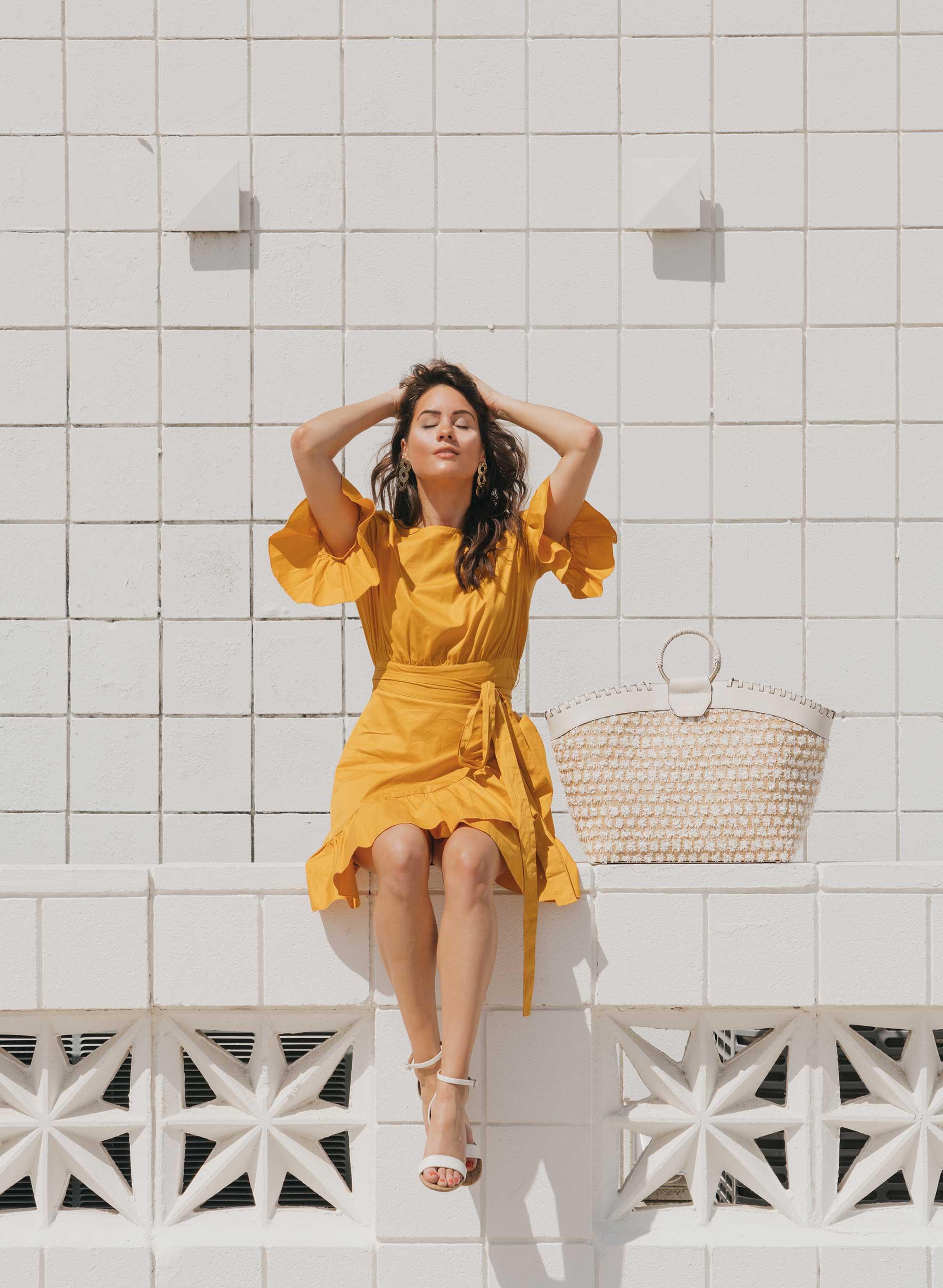 Cynthia Rowley Short sleeve cotton ruffle wrap dress Palm Springs Outfit2.jpg