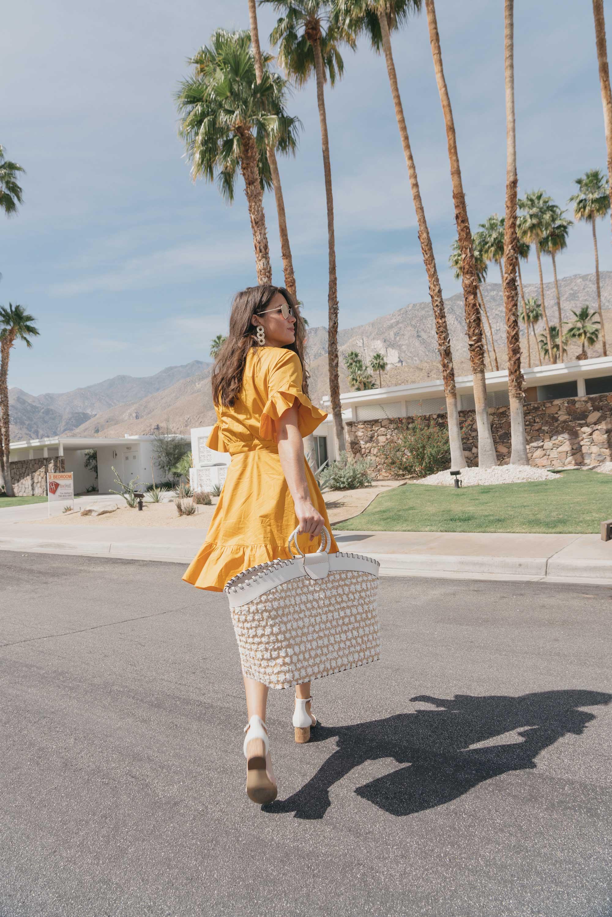 Cynthia Rowley Short sleeve cotton ruffle wrap dress Palm Springs Outfit1.jpg