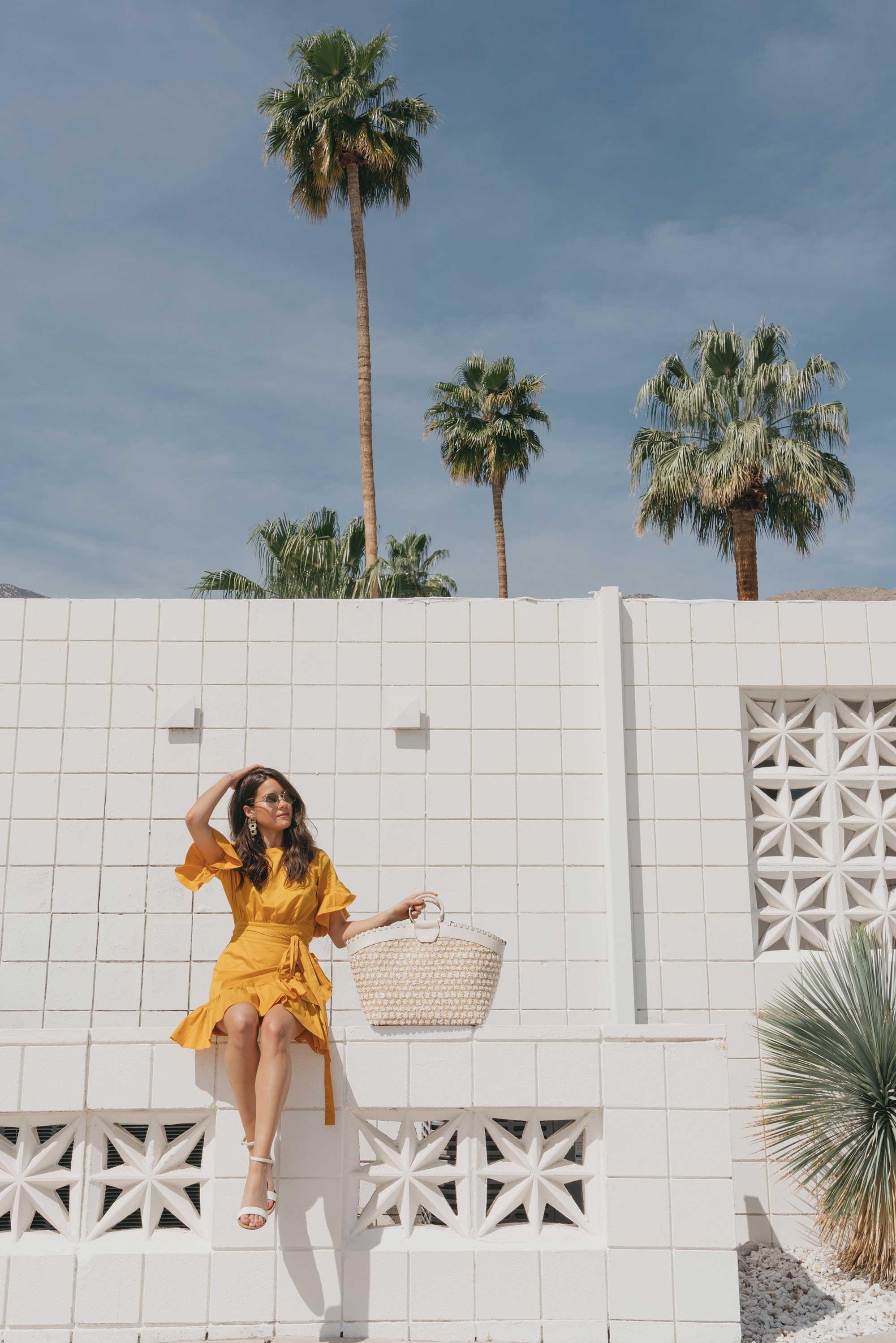 Cynthia Rowley Short sleeve cotton ruffle wrap dress Palm Springs Outfit4.jpg