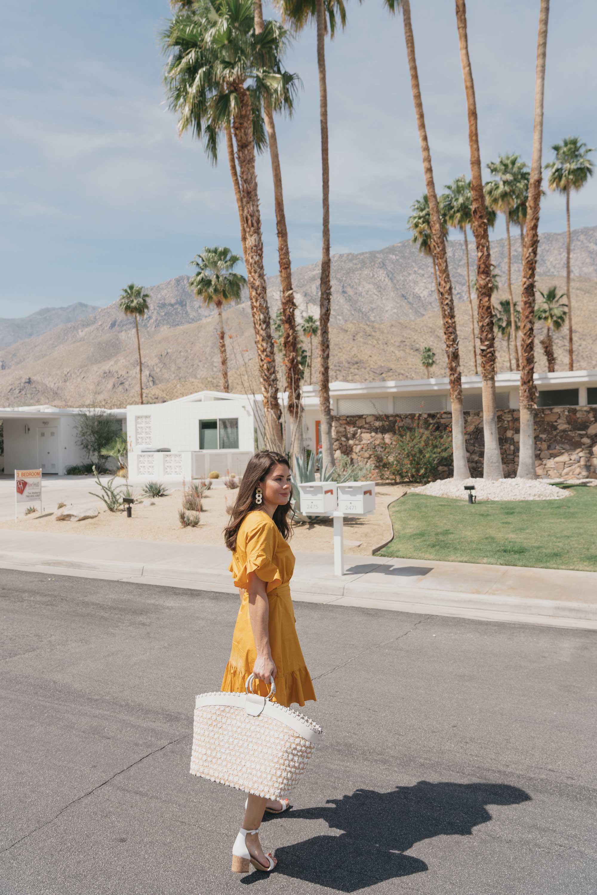Cynthia Rowley Short sleeve cotton ruffle wrap dress Palm Springs Outfit8.jpg