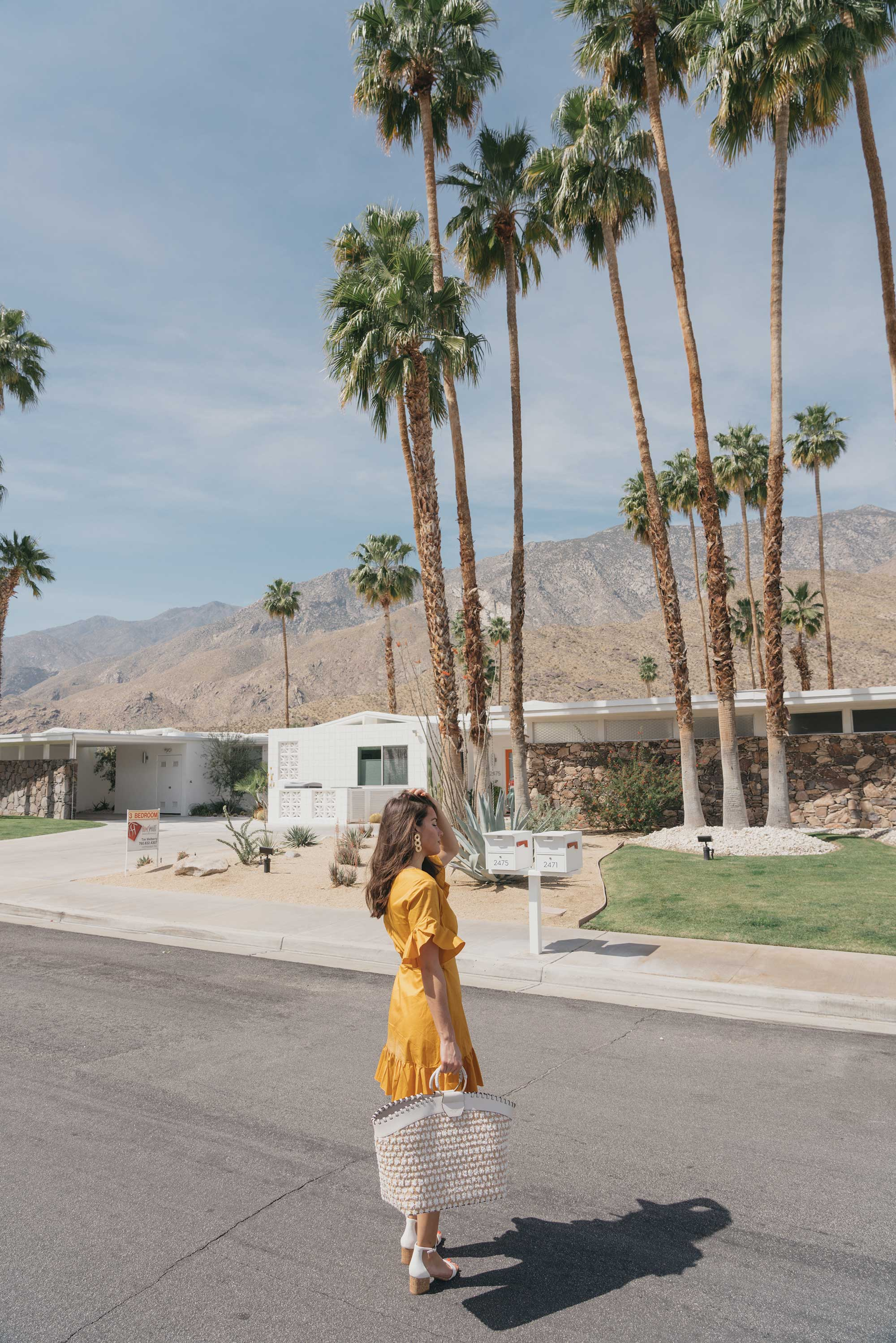 Cynthia Rowley Short sleeve cotton ruffle wrap dress Palm Springs Outfit7.jpg