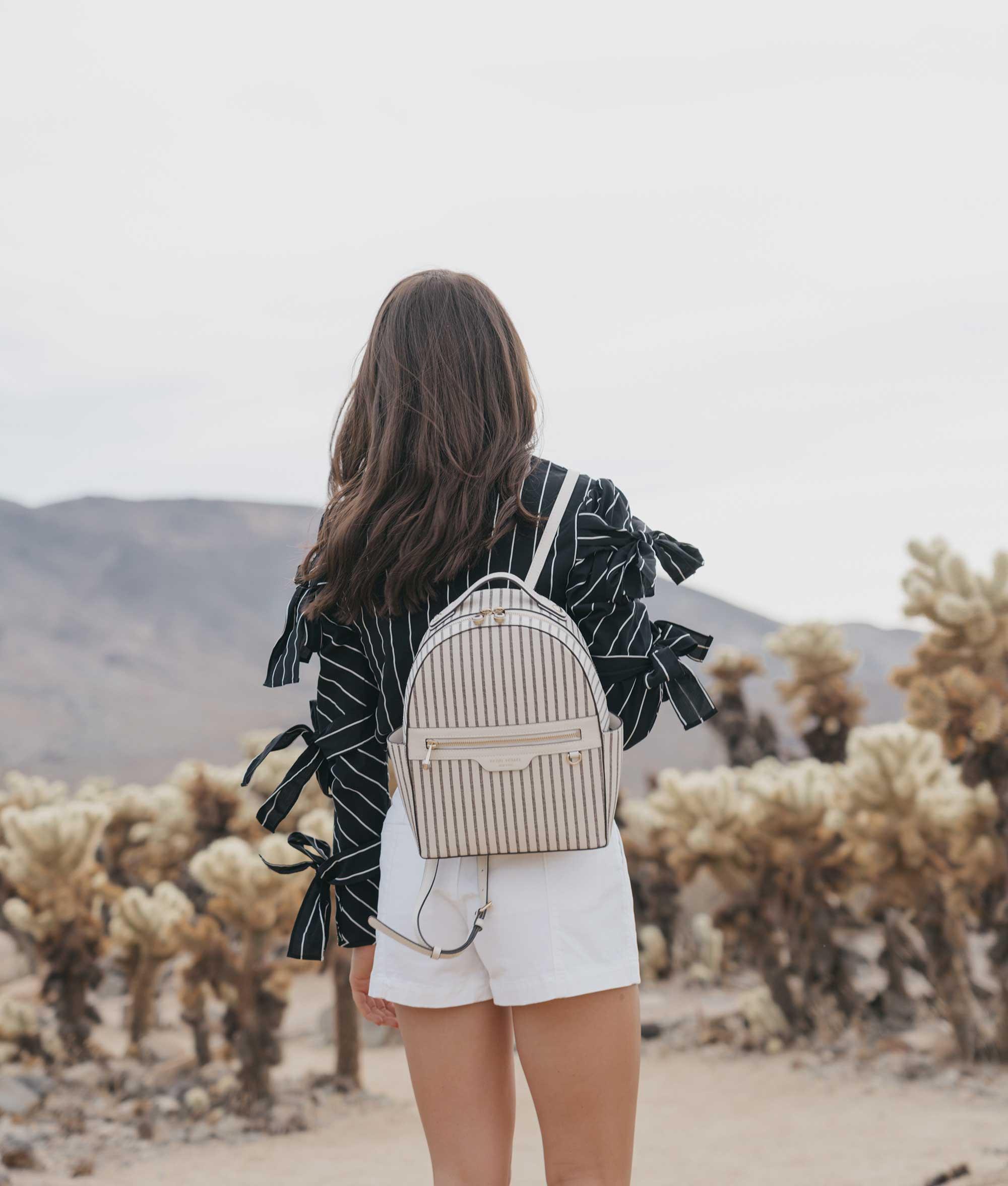 Henir Bendel WEST 57TH STRIPED BACKPACK festival outfit for Coachella Cholla Cactus Garden Joshua Tree Desert1.jpg