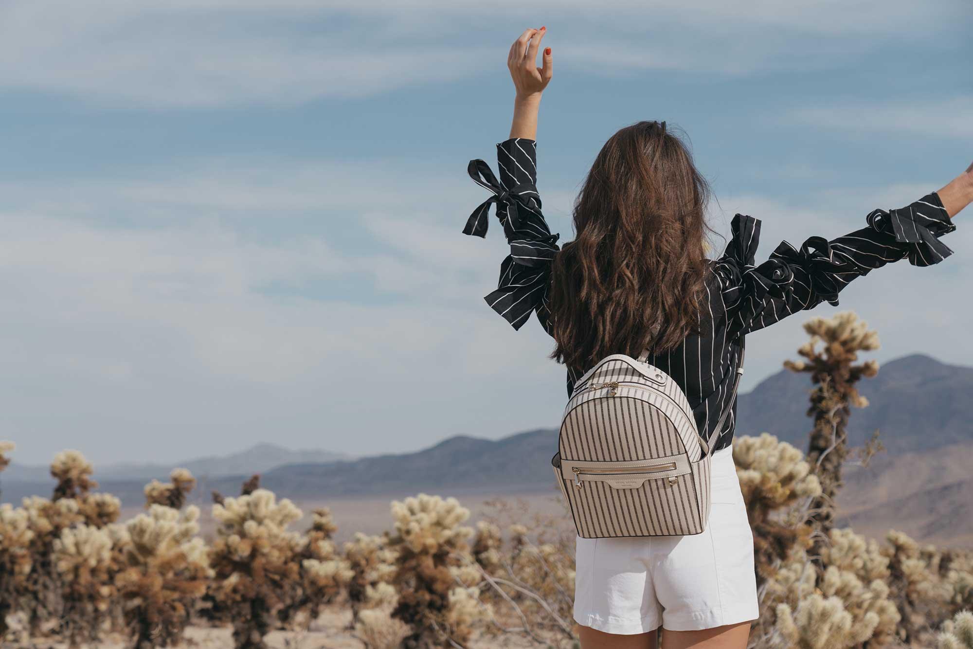 Henir Bendel WEST 57TH STRIPED BACKPACK festival outfit for Coachella Cholla Cactus Garden Joshua Tree Desert16.jpg