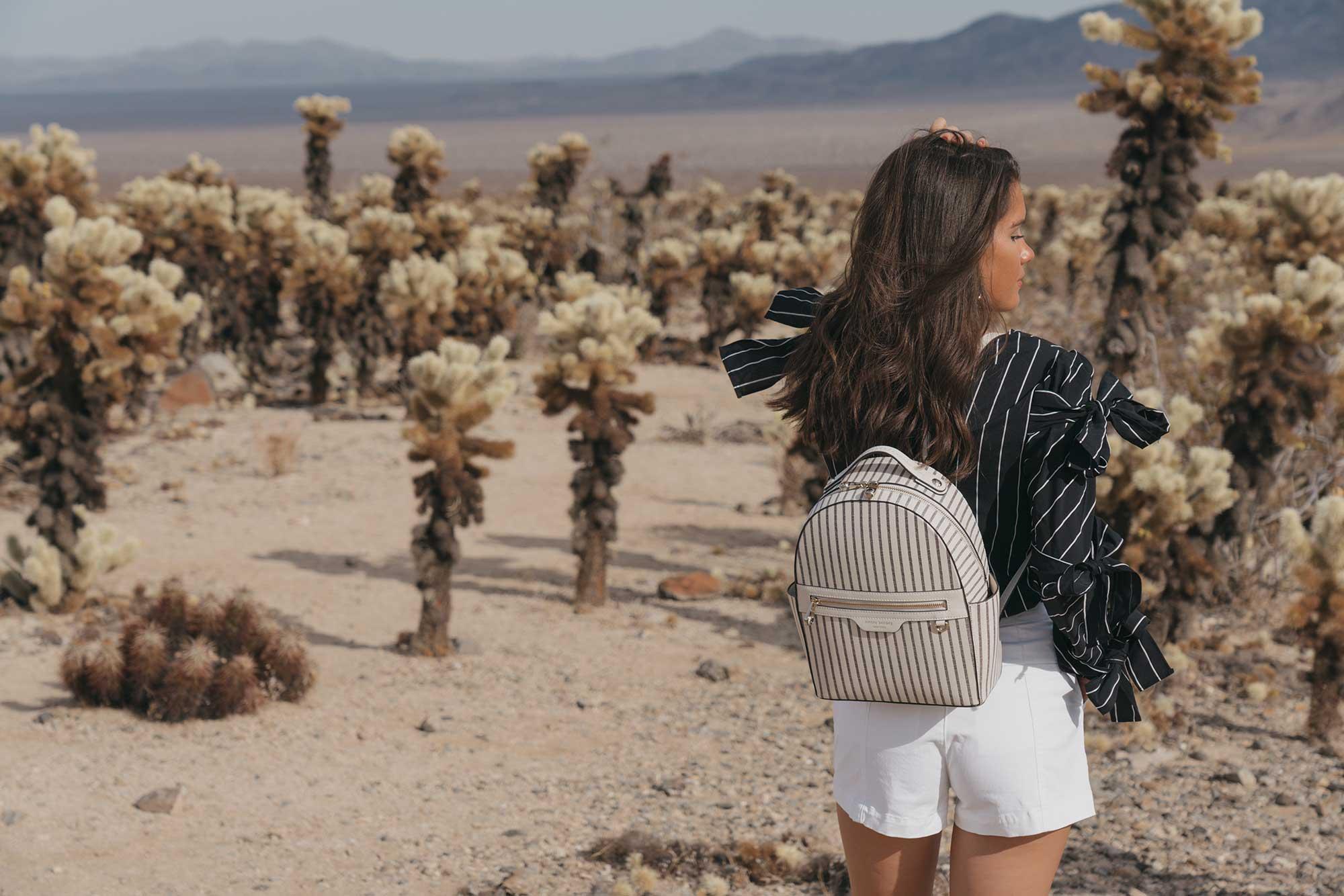 Henir Bendel WEST 57TH STRIPED BACKPACK festival outfit for Coachella Cholla Cactus Garden Joshua Tree Desert15.jpg