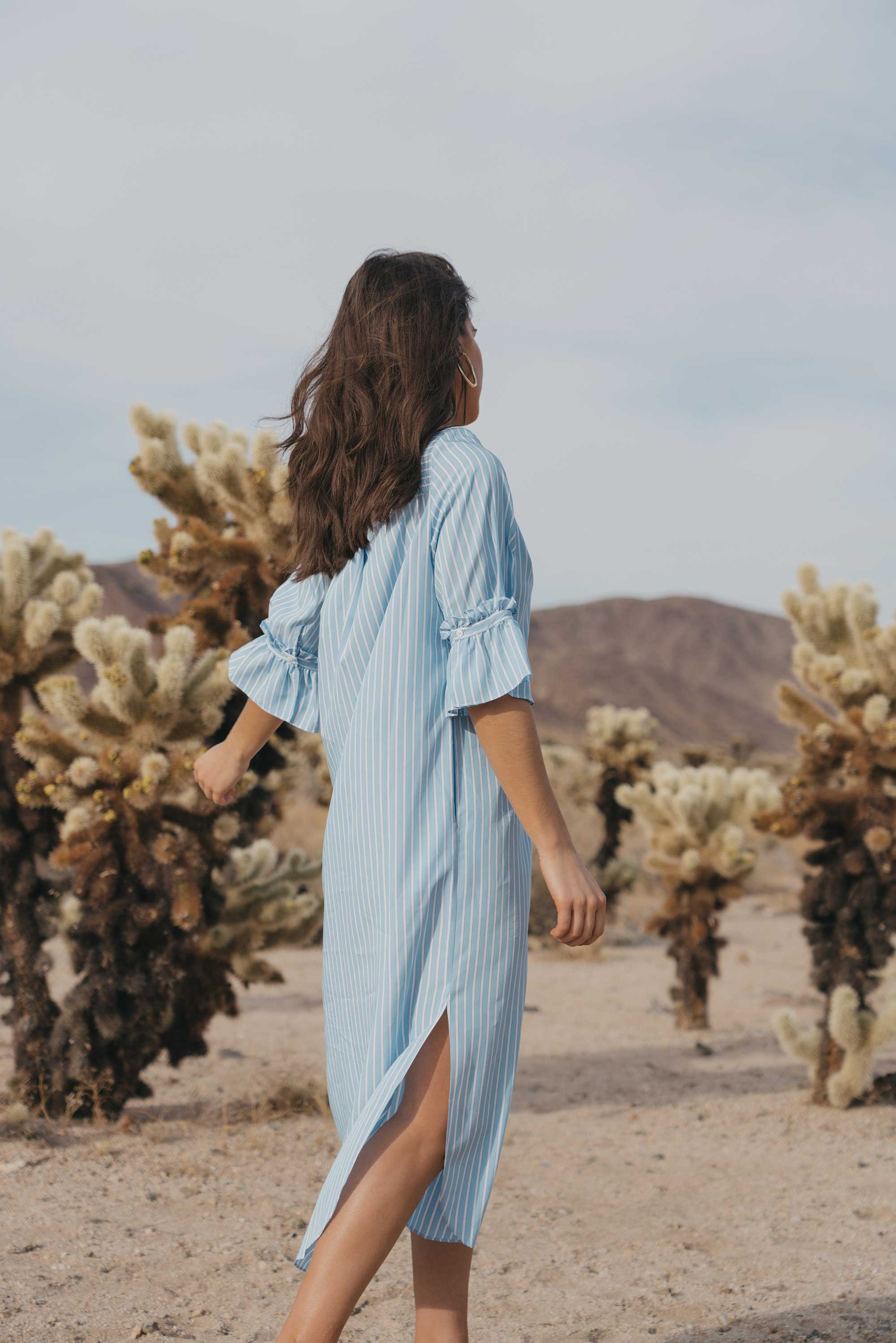 Frill Sleeve Maxi Shirt Dress Festival Outfit Coachella Joshua Tree Cholla Cactus Garden22.jpg