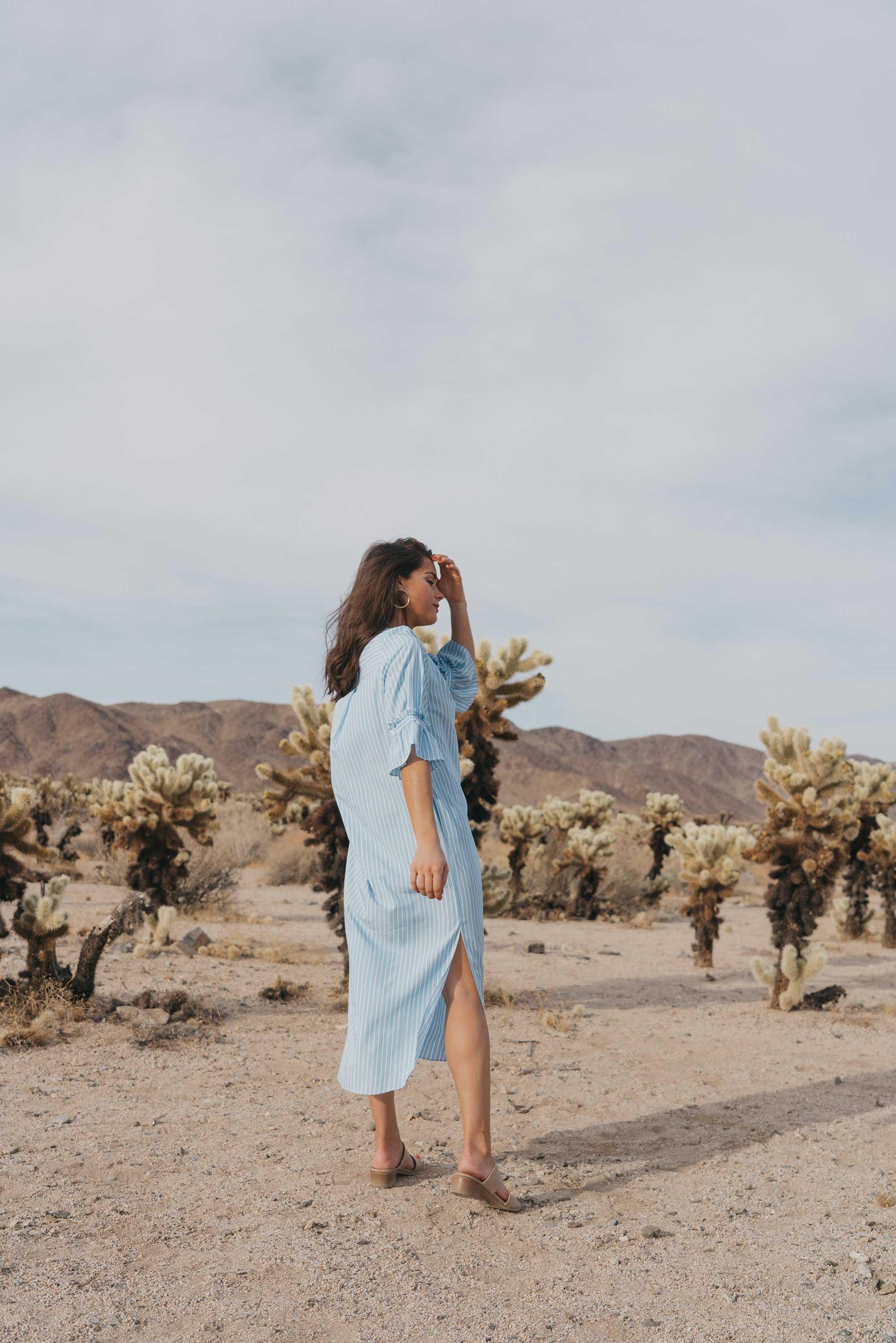 Frill Sleeve Maxi Shirt Dress Festival Outfit Coachella Joshua Tree Cholla Cactus Garden24.jpg