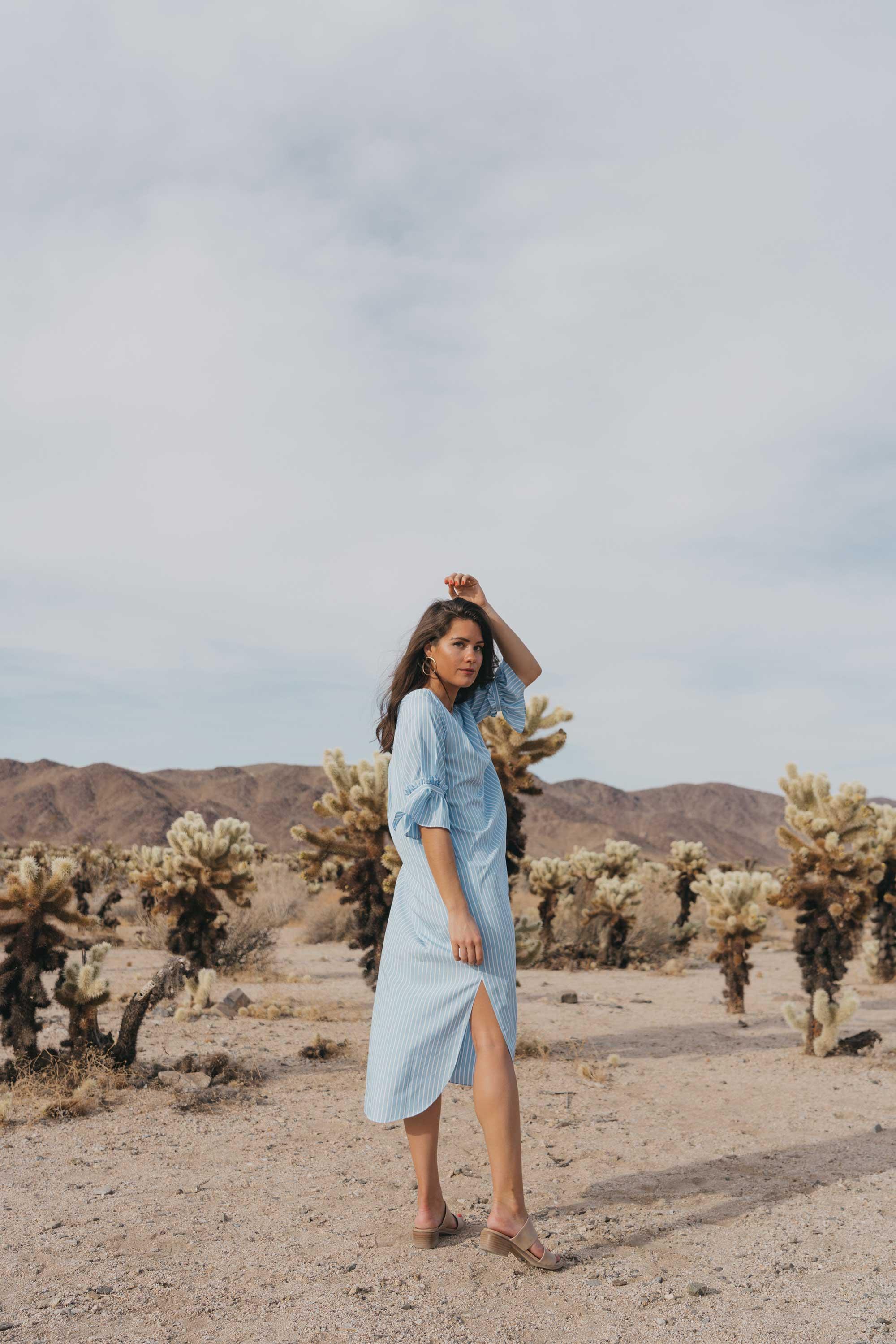 Frill Sleeve Maxi Shirt Dress Festival Outfit Coachella Joshua Tree Cholla Cactus Garden26.jpg