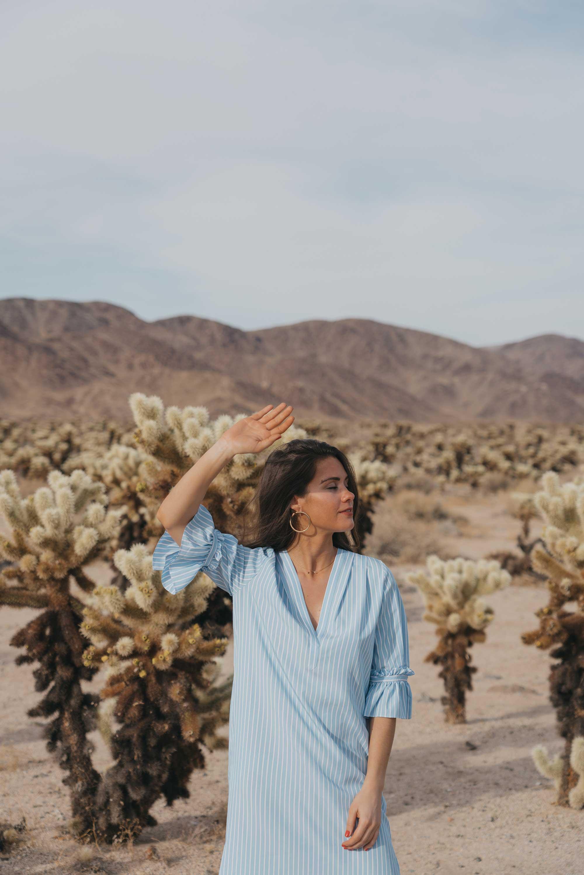Frill Sleeve Maxi Shirt Dress Festival Outfit Coachella Joshua Tree Cholla Cactus Garden13.jpg