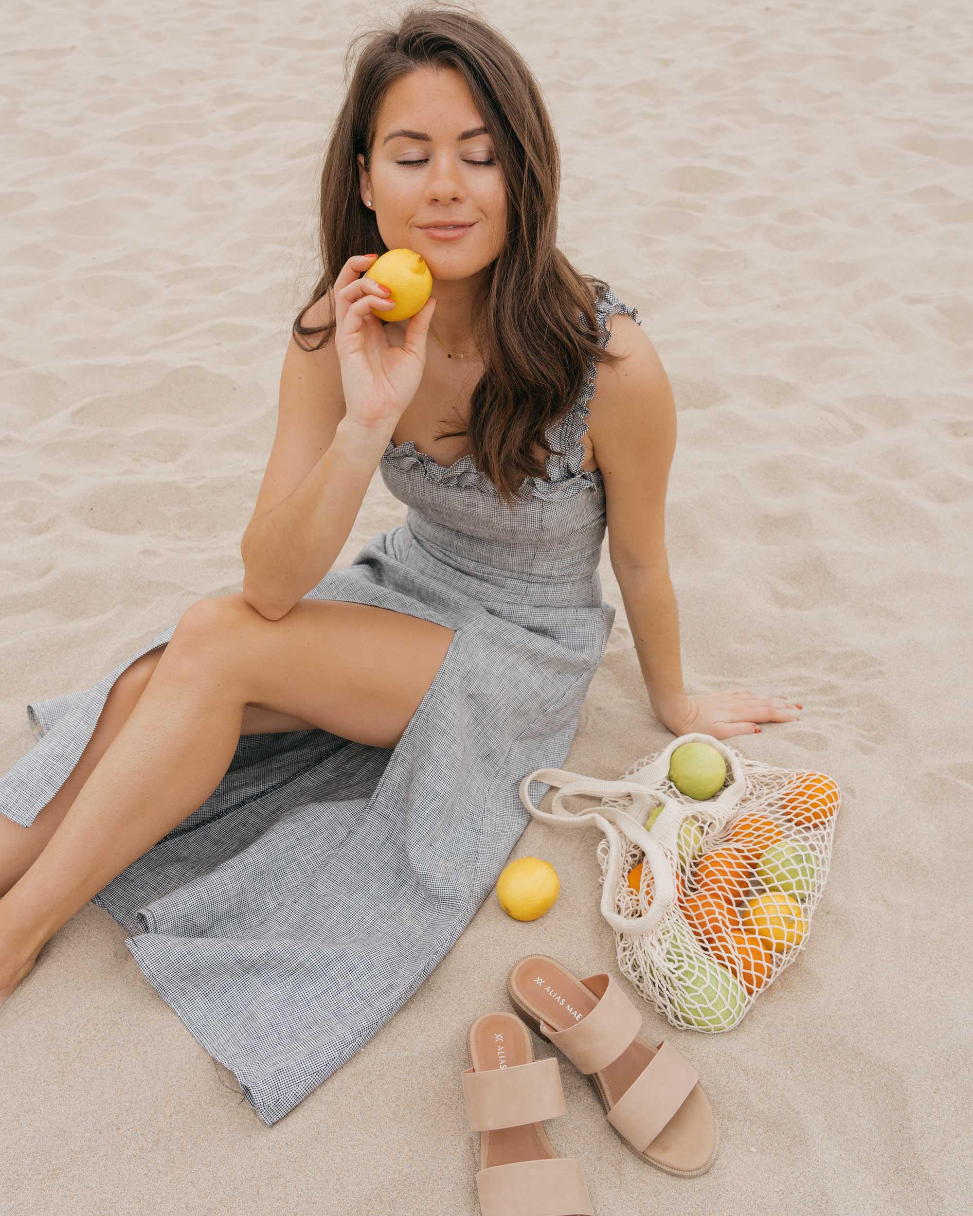 Reformation Lavendar Midi Dress Cotton Net Shopping Tote Newport Beach California Summer Outfit6.jpg