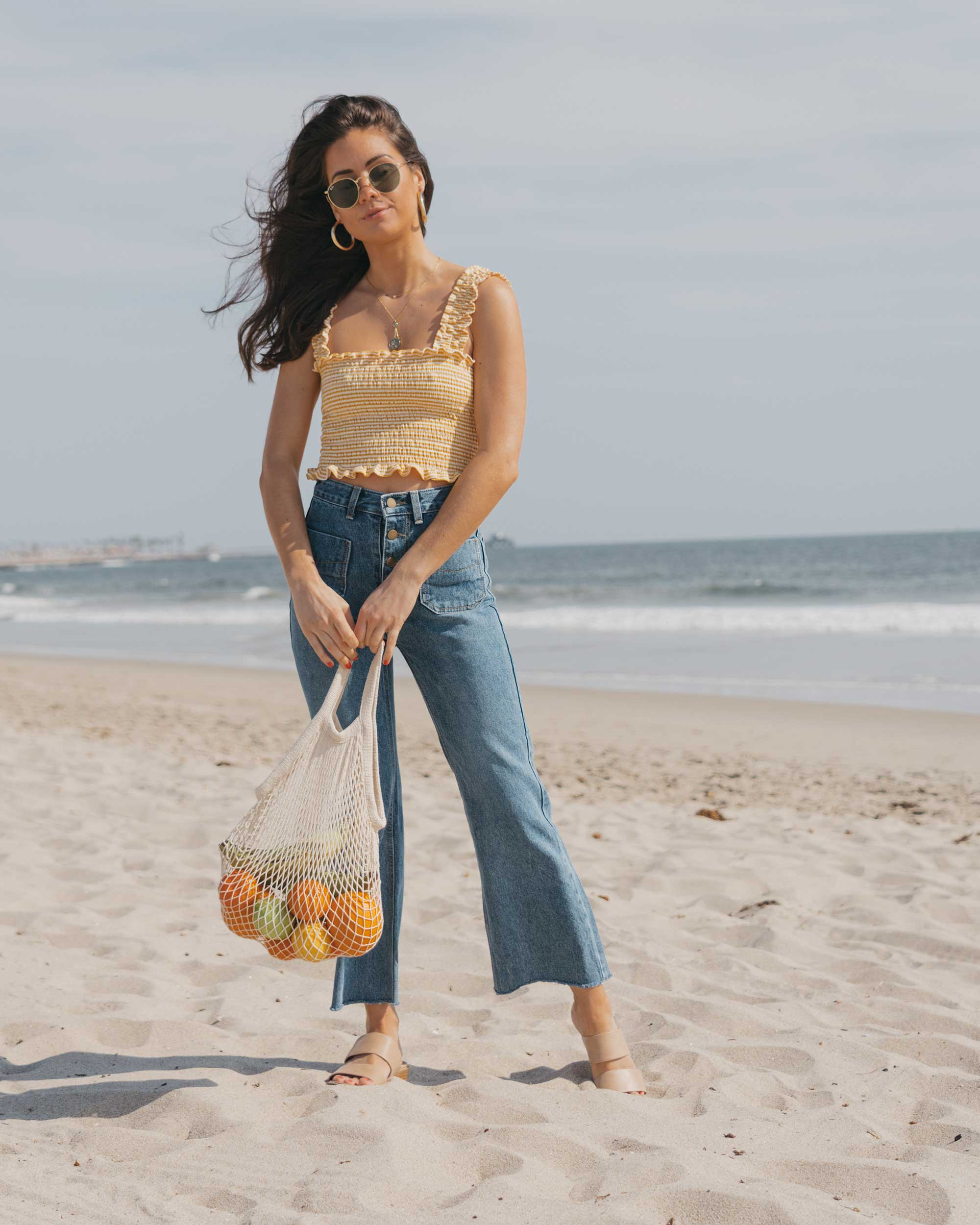 Reformation Leonore Top Patch Pocket Jeans Rayban Icons 53mm Retro Sunglasses Newport Beach California summer outfit9.jpg