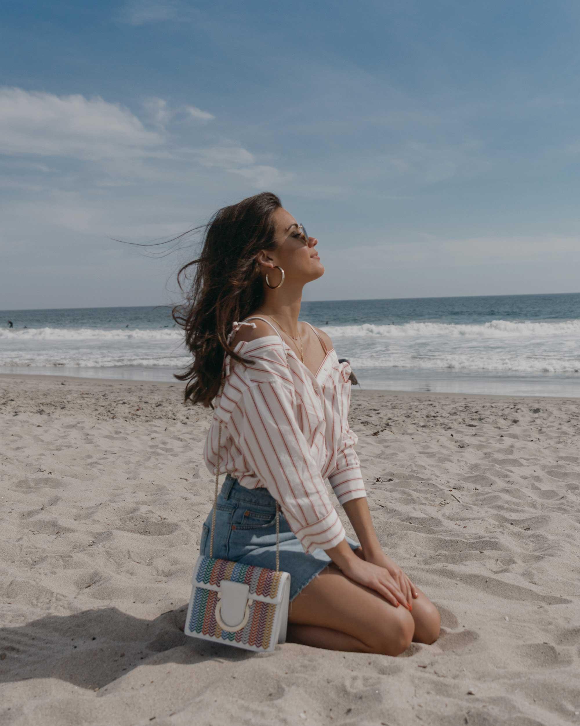 Joie Alvina Tie Front Stripe Shirt High Rise Mini Skirt Newport Beach California Summer Outfit6.jpg