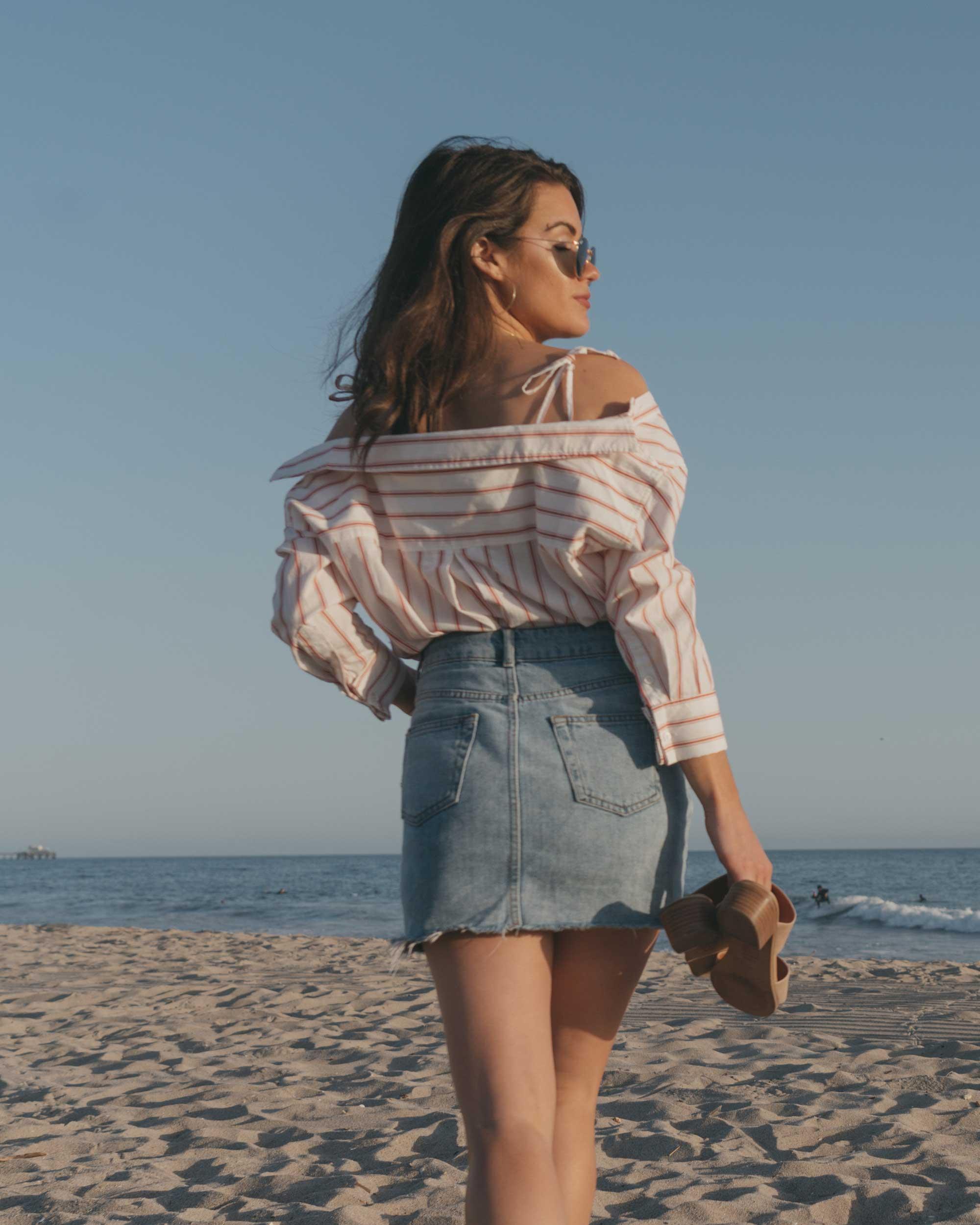 Joie Alvina Tie Front Stripe Shirt High Rise Mini Skirt Newport Beach California Summer Outfit3.jpg
