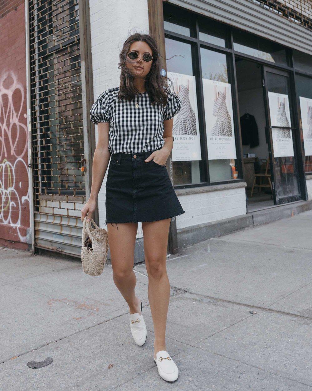 Gingham Blouse in New York — Sarah Christine