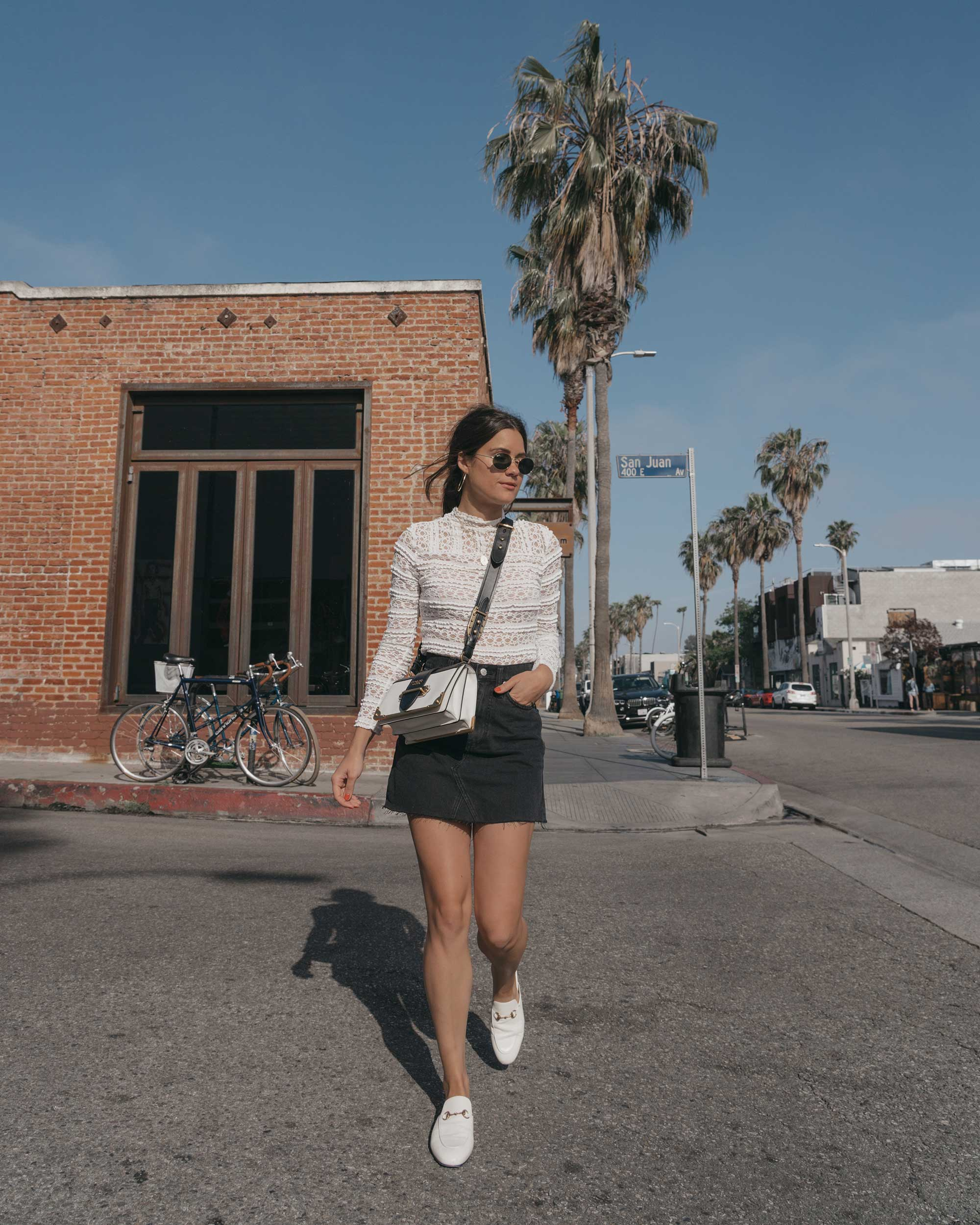 Prada City Saffiano Leather Cahier Bag, Black Denim Skirt, Summer outfit, Abbot Kinney California2.jpg