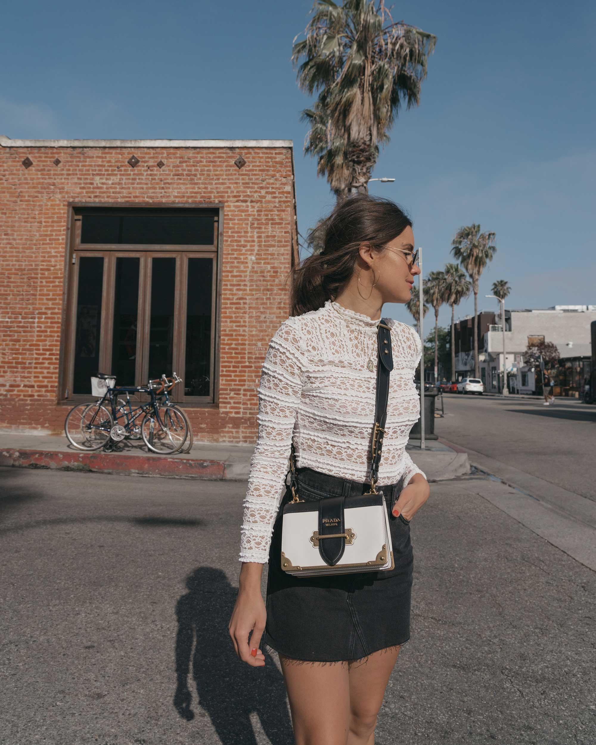 Prada City Saffiano Leather Cahier Bag, Black Denim Skirt, Summer outfit, Abbot Kinney California3.jpg