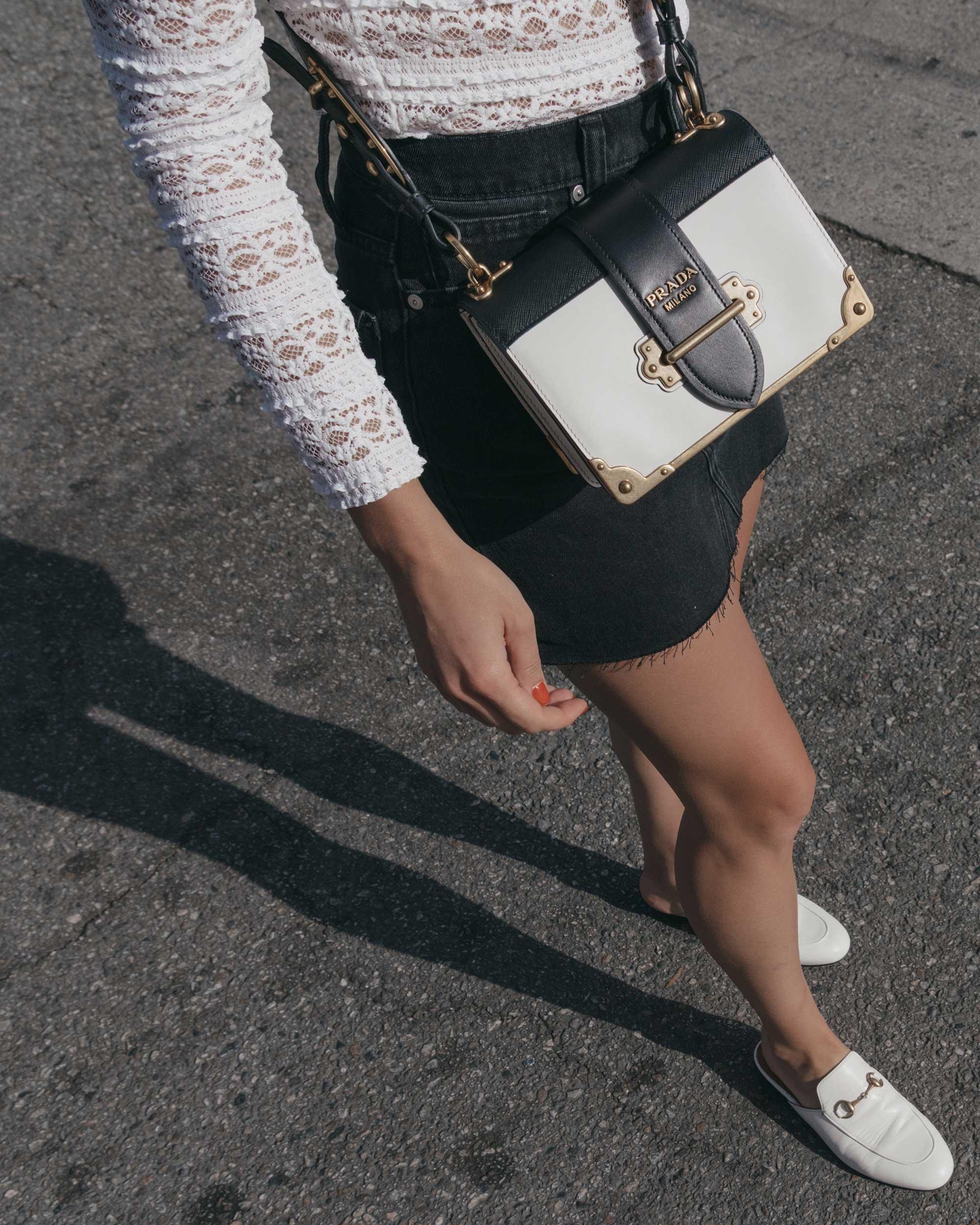 Prada City Saffiano Leather Cahier Bag, Black Denim Skirt, Summer outfit, Abbot Kinney California4.jpg