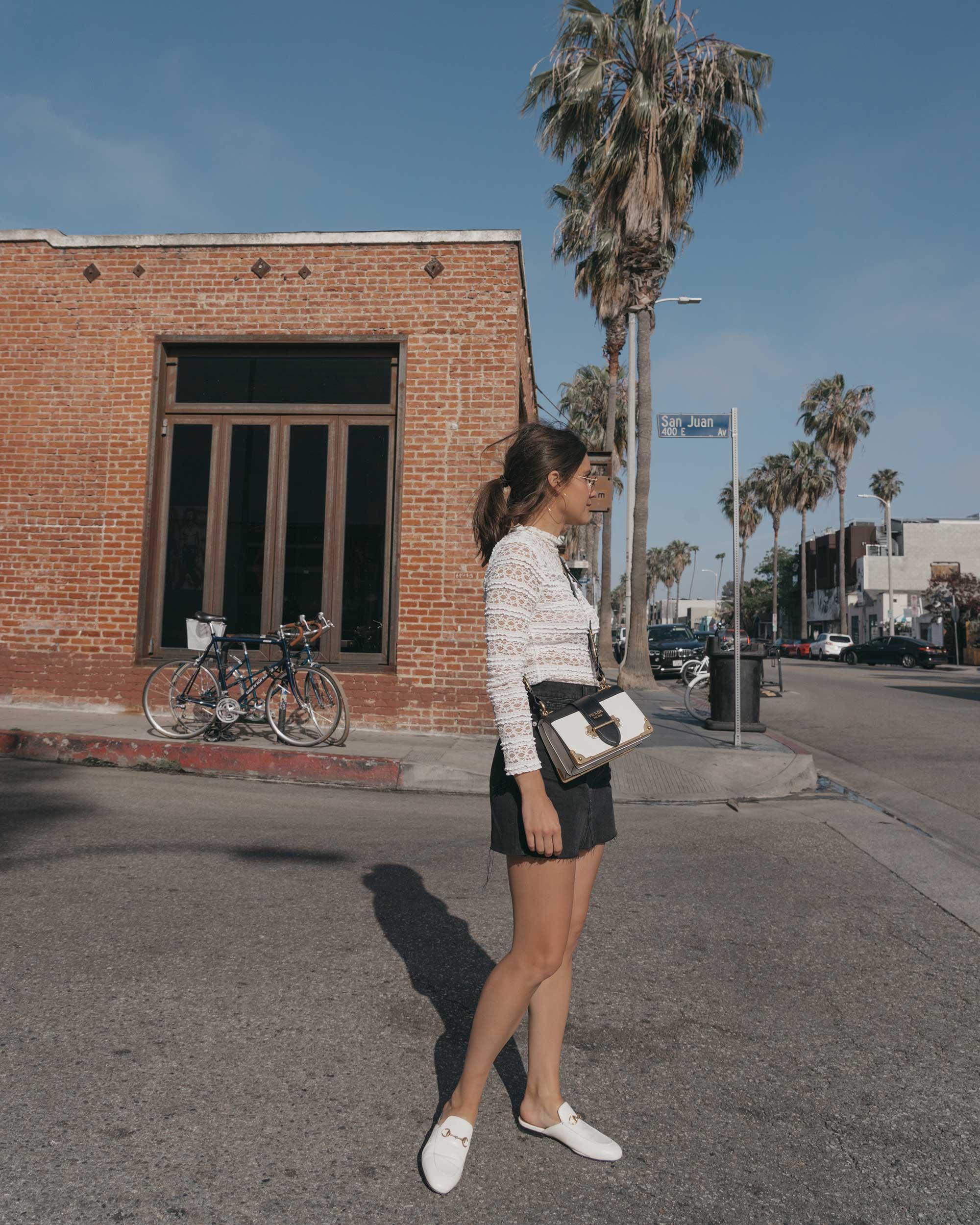 Prada City Saffiano Leather Cahier Bag, Black Denim Skirt, Summer outfit, Abbot Kinney California1.jpg