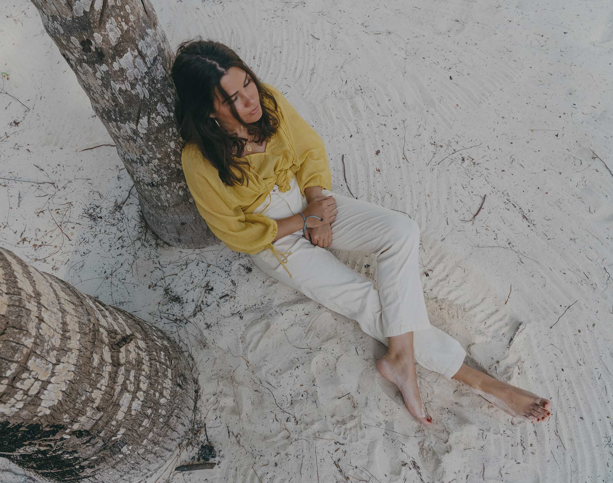 Lou & Grey Yellow Tie Up Blouse and Softstretch Linen Pants Dominica Republic Summer Beach Outfit17.jpg