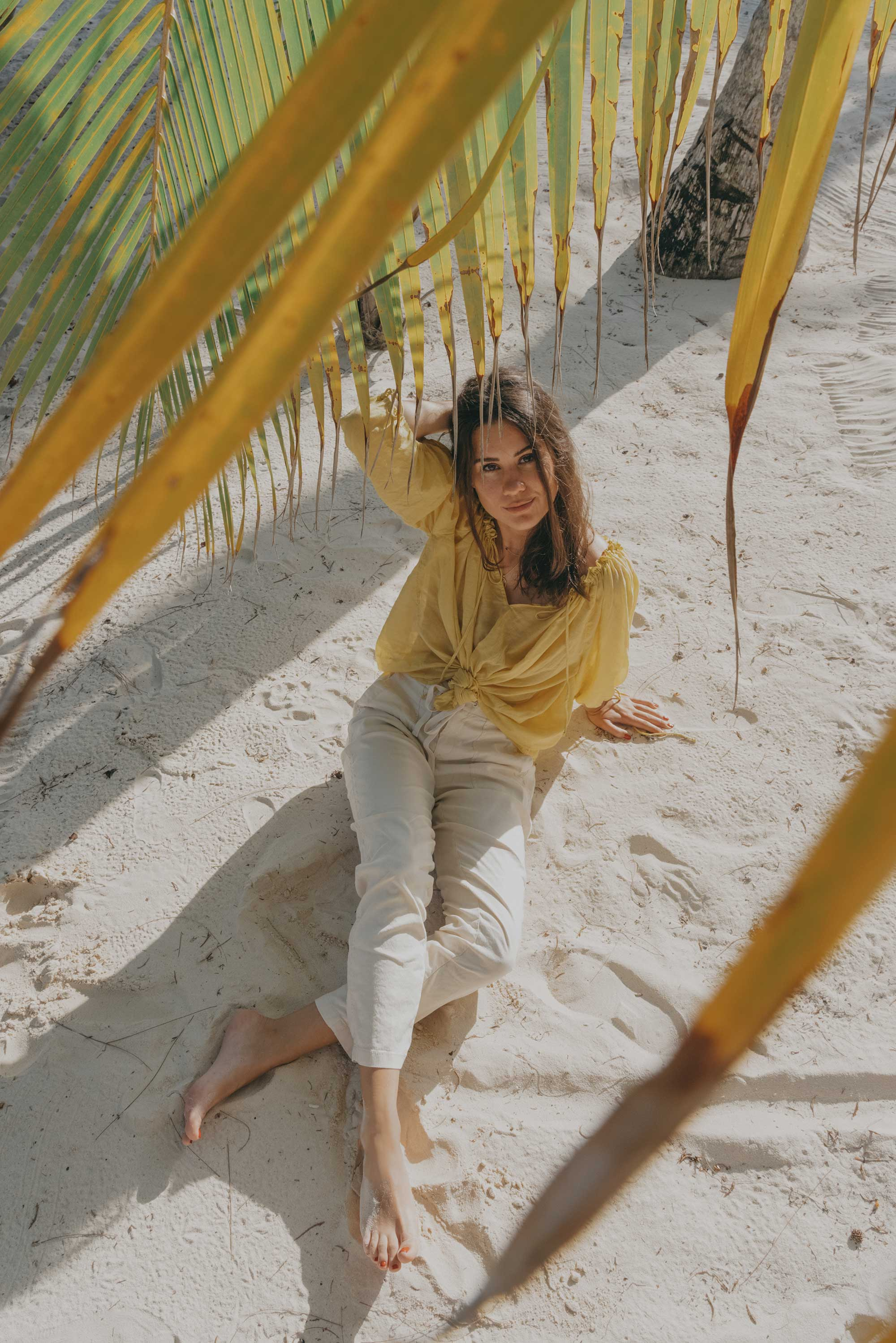 Lou & Grey Yellow Tie Up Blouse and Softstretch Linen Pants Dominica Republic Summer Beach Outfit5.jpg