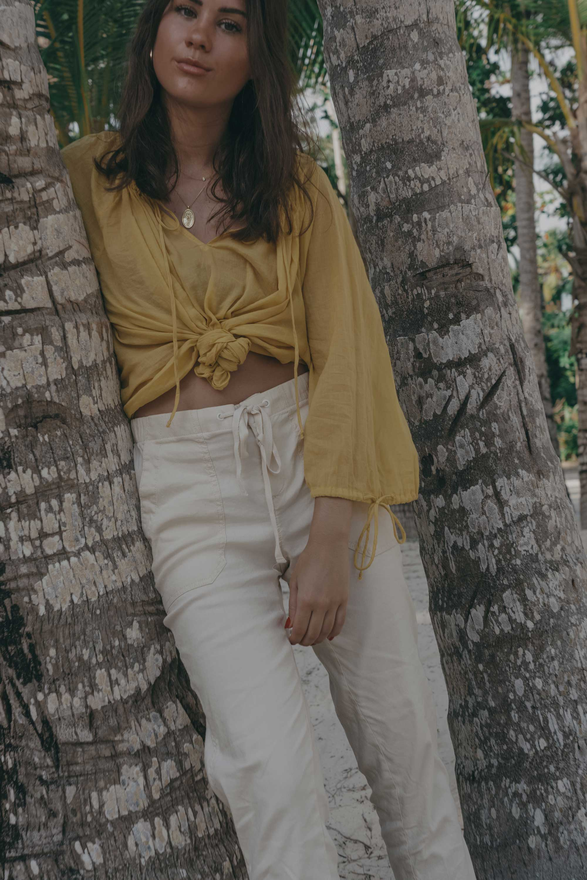 Lou & Grey Yellow Tie Up Blouse and Softstretch Linen Pants Dominica Republic Summer Beach Outfit11.jpg