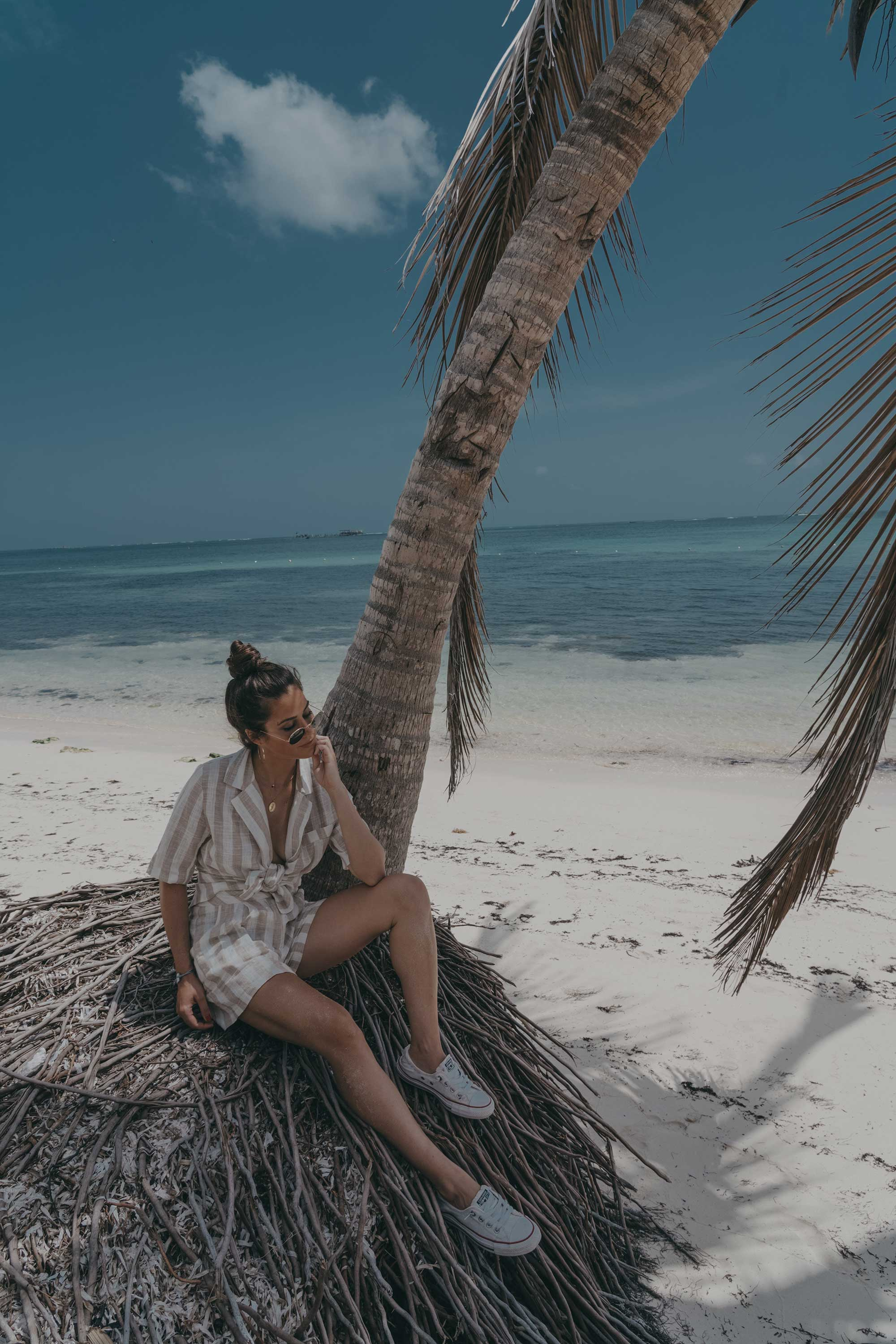 stripe linen blazer and short suit dominican republic beach outfit8.jpg