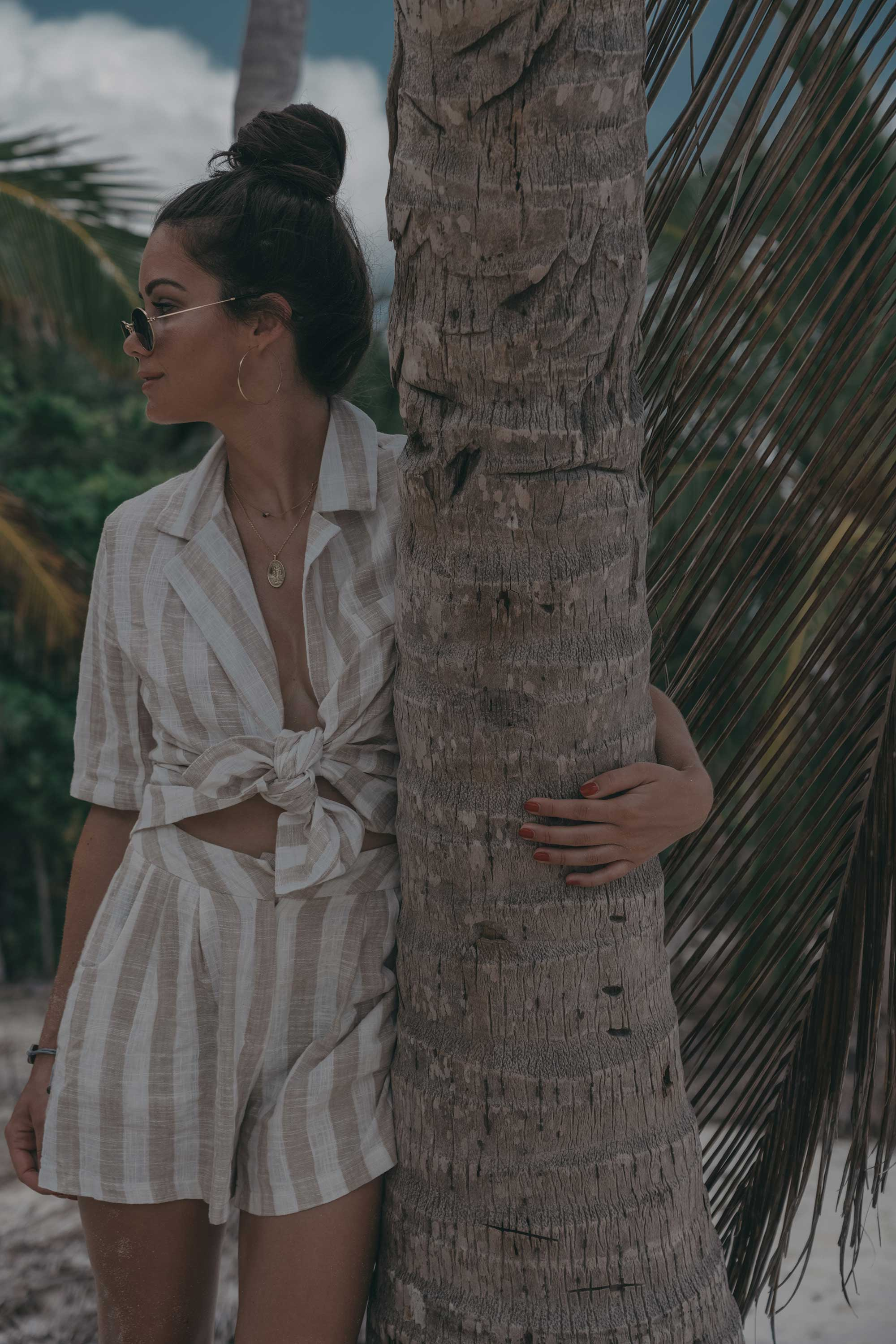 stripe linen blazer and short suit dominican republic beach outfit5.jpg