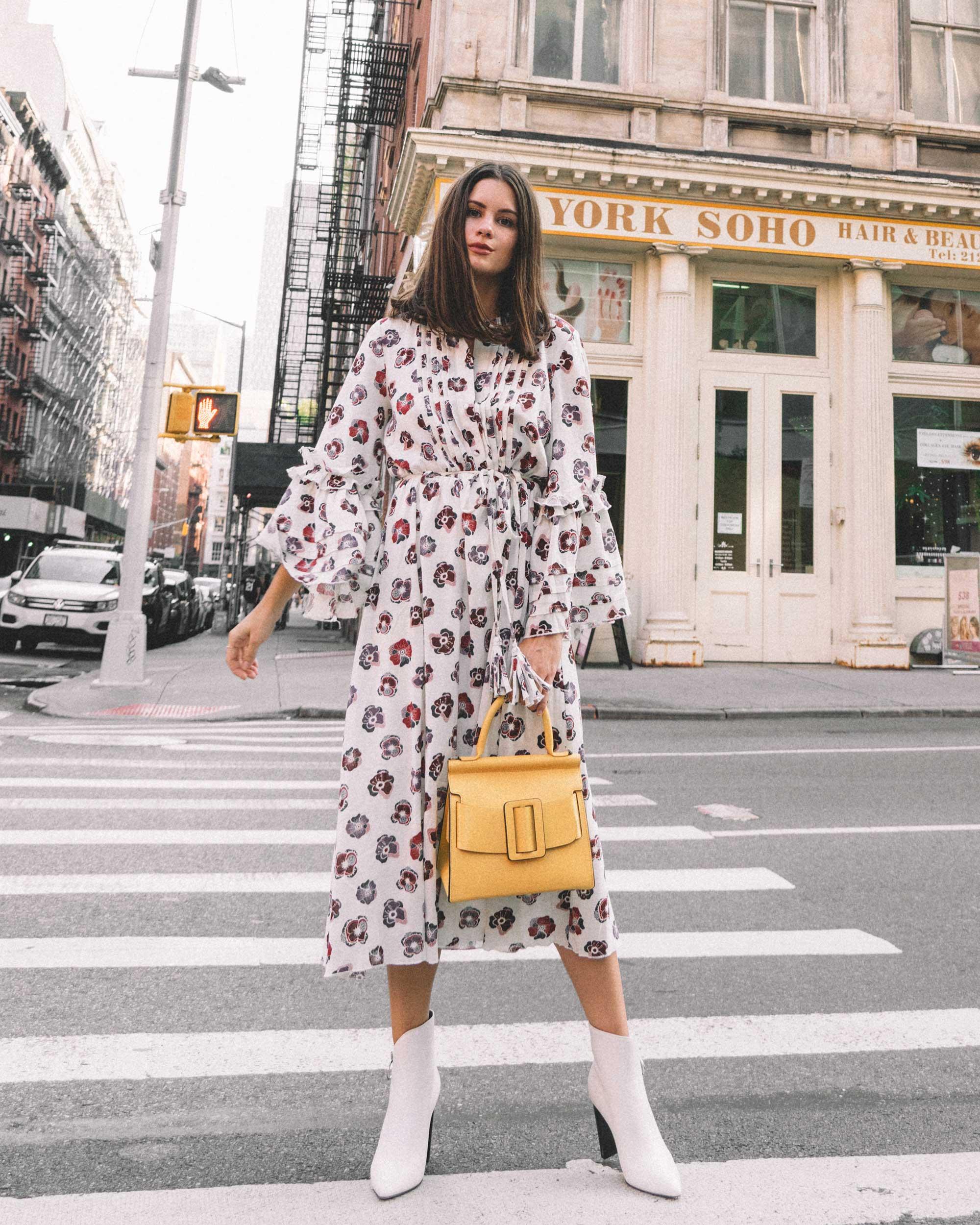 Madewell x Karen Walker Floral Fantasia Ruffled Dress and BOYY Karl 24 Bag soho new york fashion week outfit4.jpg