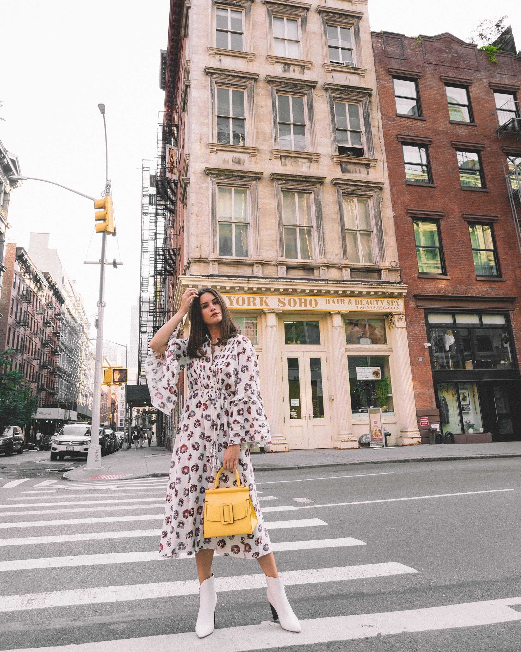Madewell x Karen Walker Floral Fantasia Ruffled Dress and BOYY Karl 24 Bag soho new york fashion week outfit3.jpg