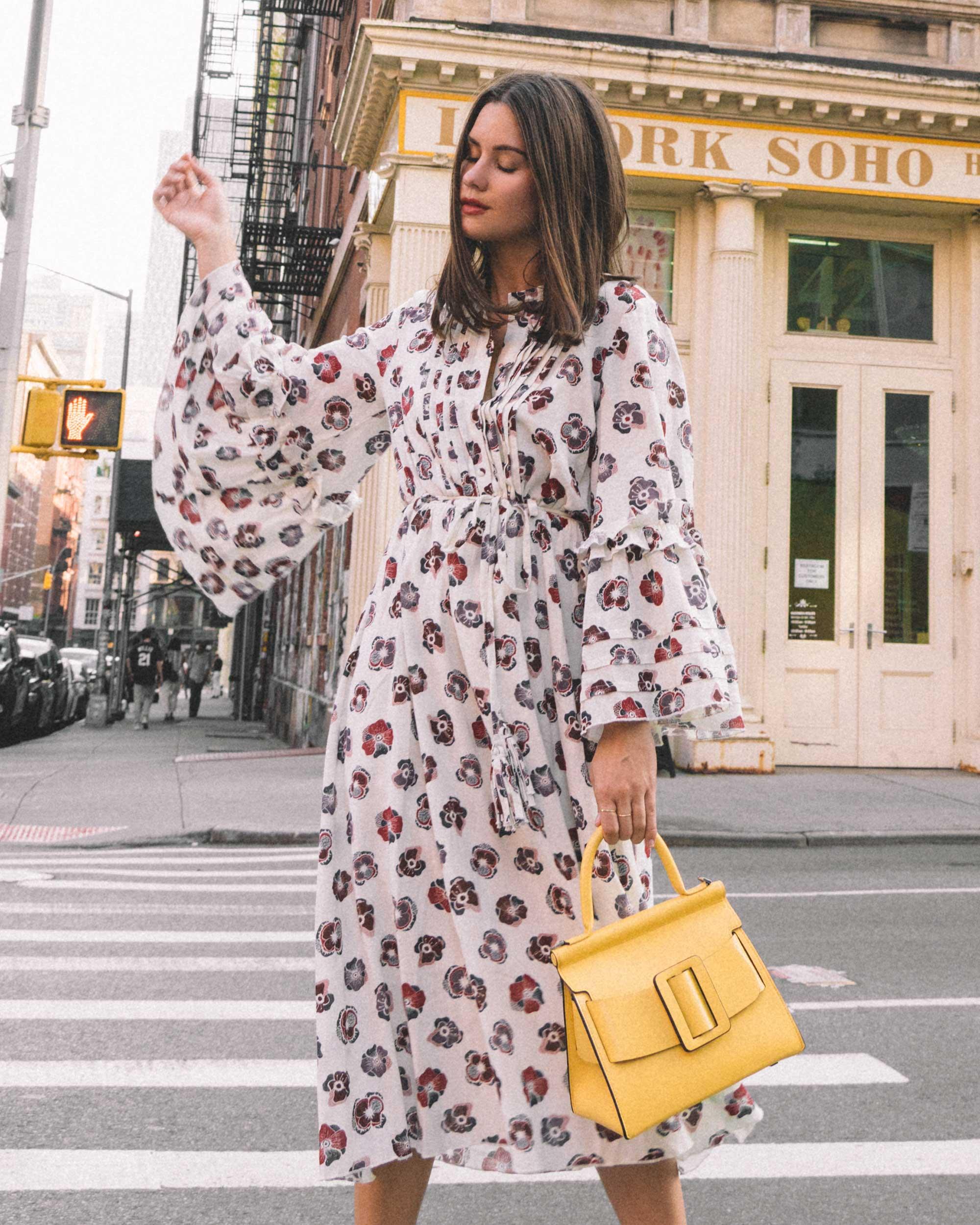 Madewell x Karen Walker Floral Fantasia Ruffled Dress and BOYY Karl 24 Bag soho new york fashion week outfit2.jpg