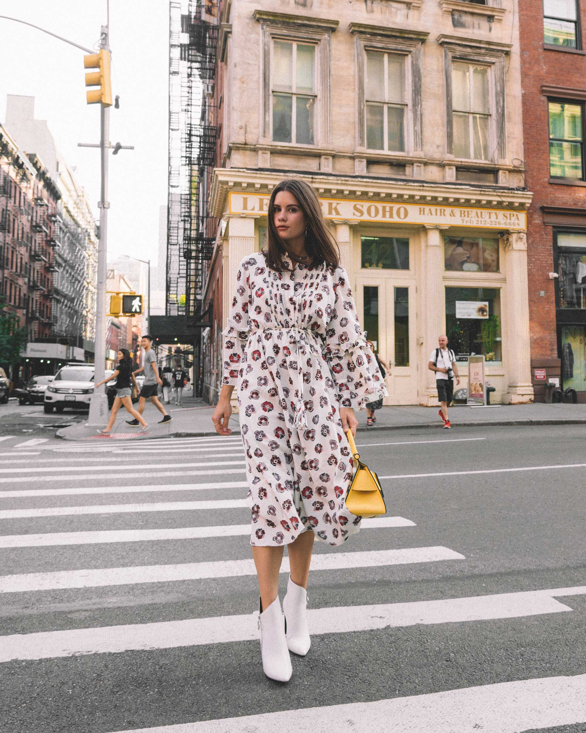 Madewell x Karen Walker Floral Fantasia Ruffled Dress and BOYY Karl 24 Bag soho new york fashion week outfit1.jpg
