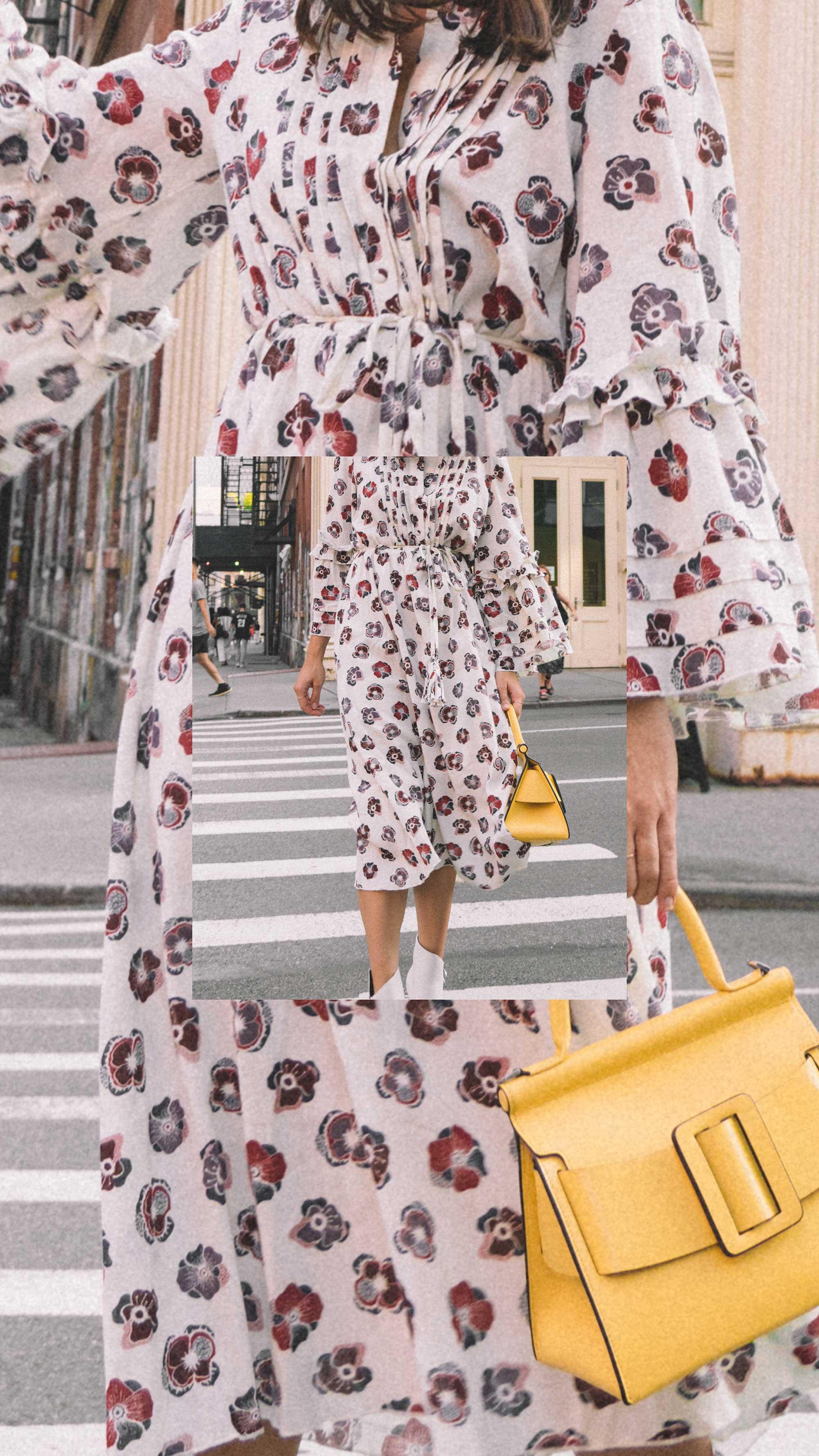 Madewell x Karen Walker Floral Fantasia Ruffled Dress and BOYY Karl 24 Bag soho new york fashion week outfit10.jpg