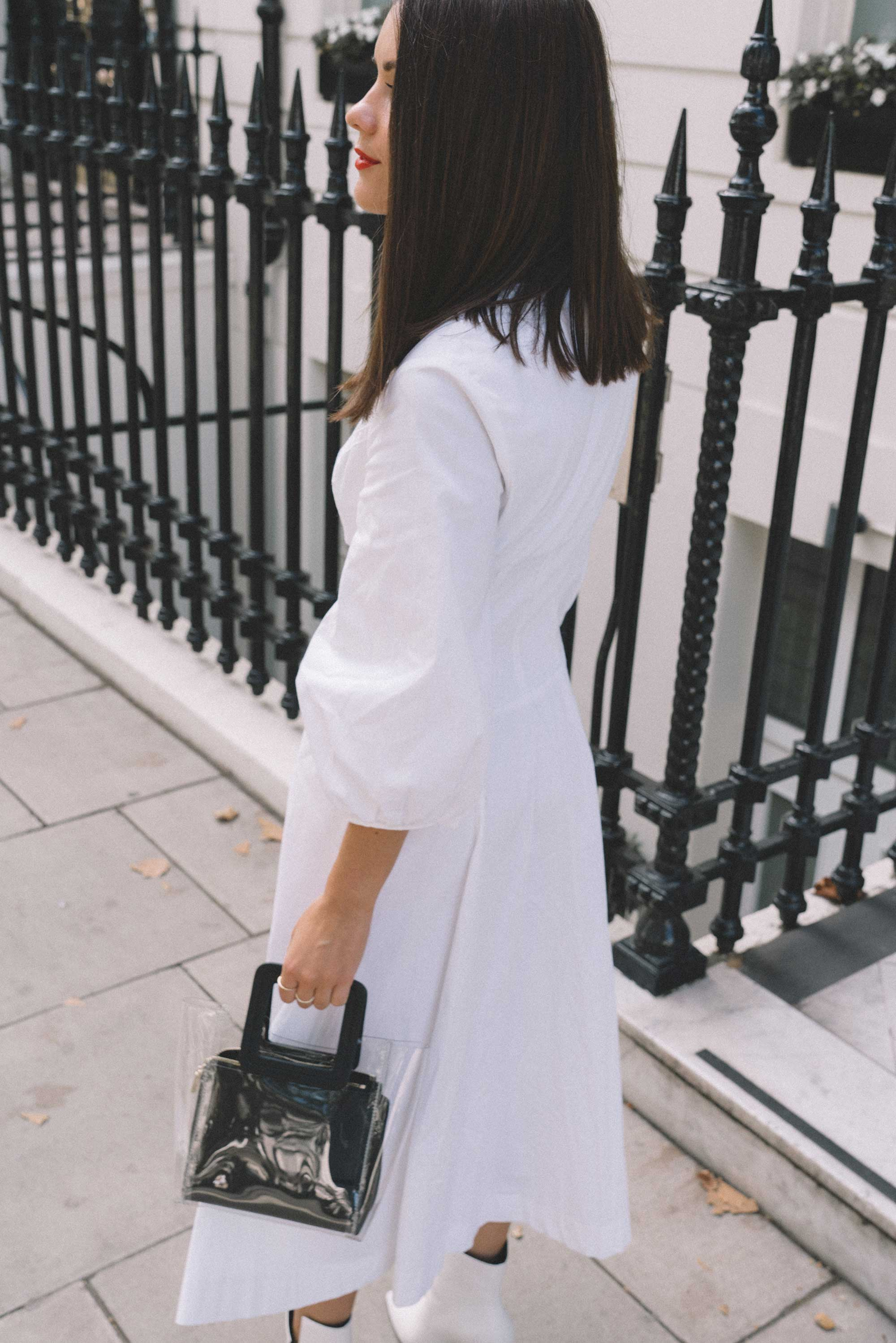 STAUD Eden Midi Dress, STAUD clear and black shirley mini PVC and leather tote, London Fashion Week Outfit5.jpg