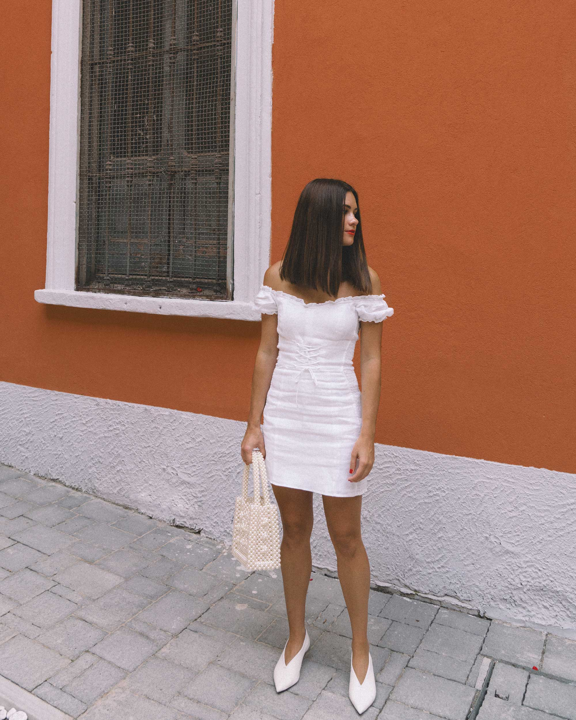 Reformation white off the shoulder linen mini dress with center front lace up2.jpg