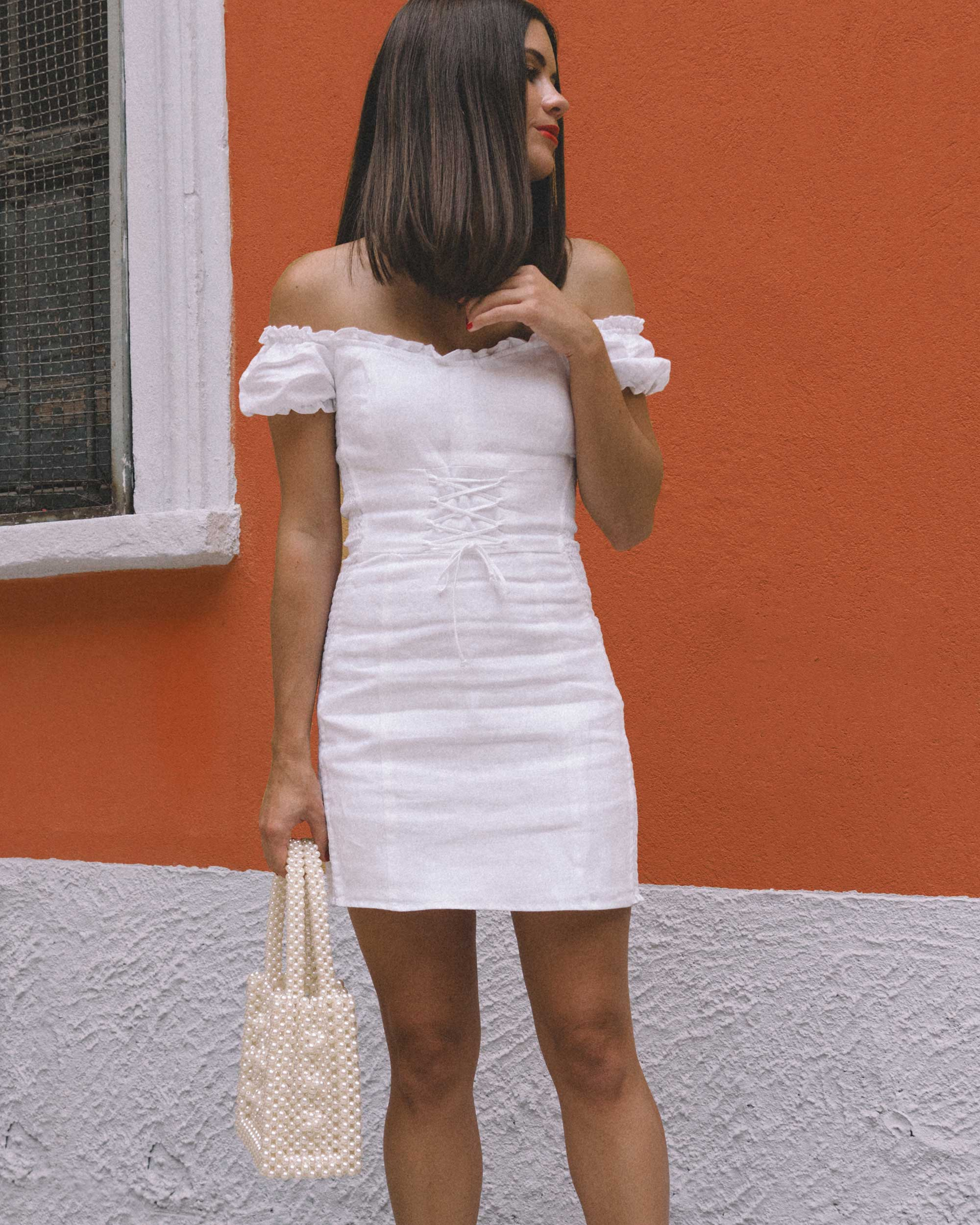 Reformation white off the shoulder linen mini dress with center front lace up4.jpg
