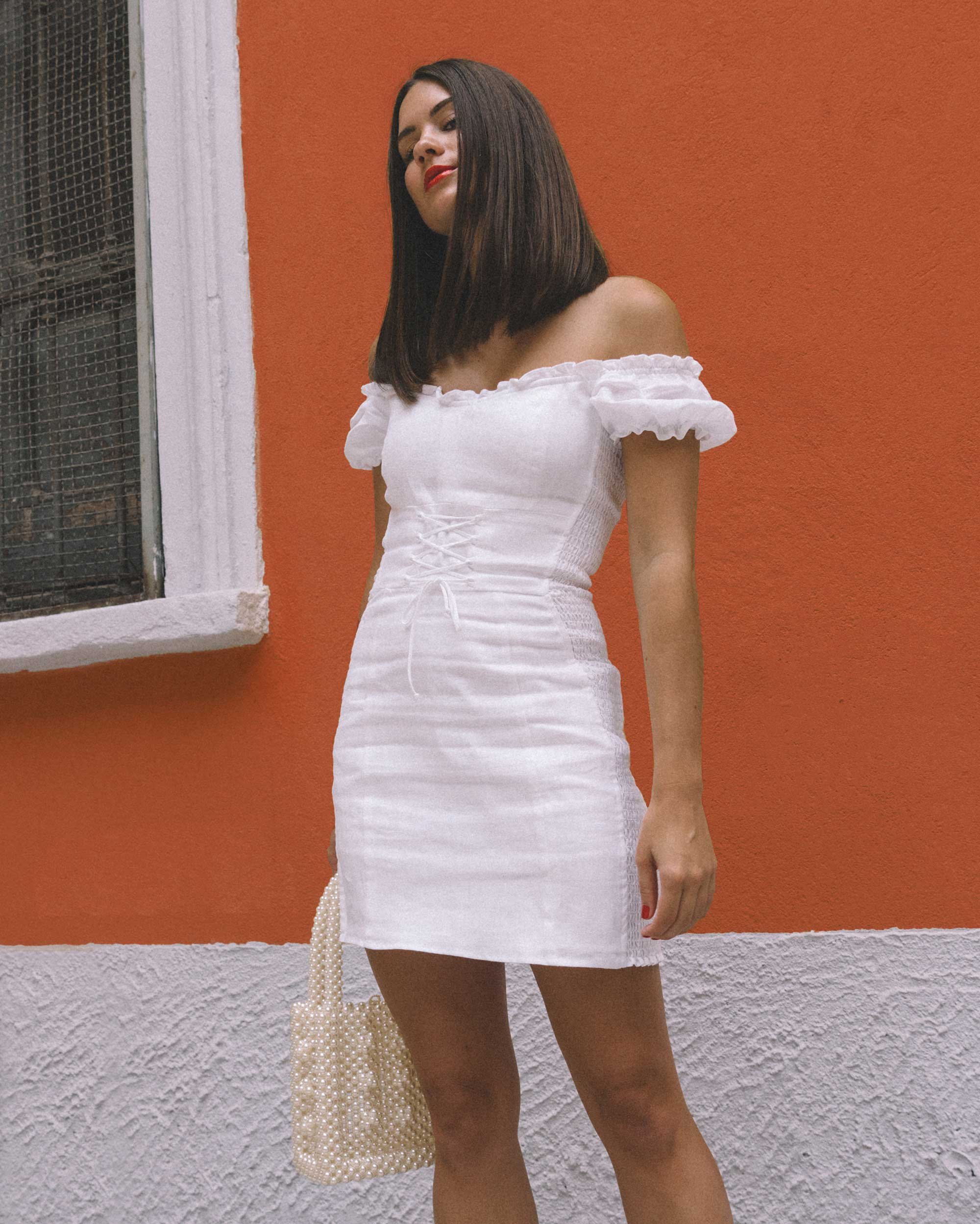 Reformation white off the shoulder linen mini dress with center front lace up7.jpg