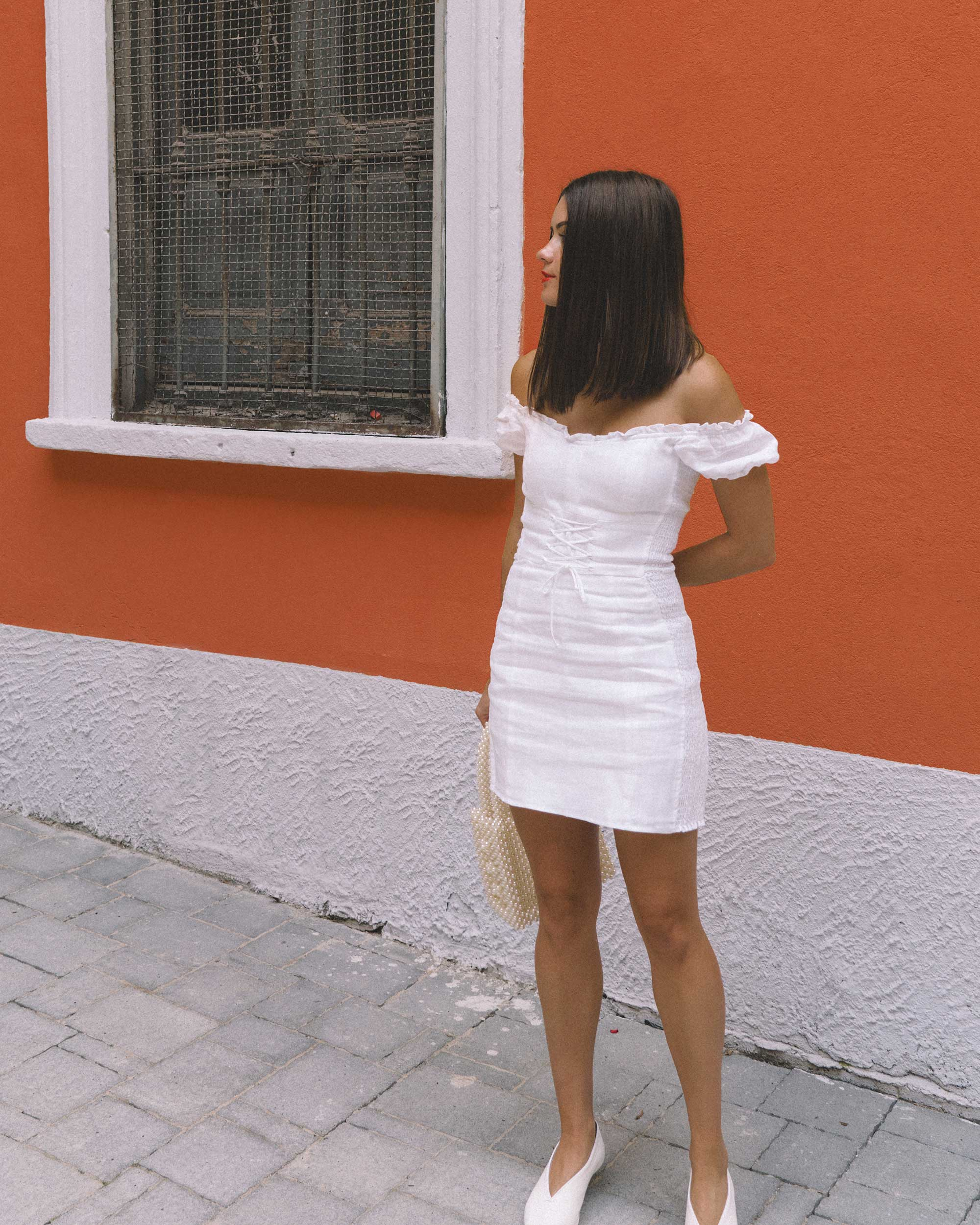 Reformation white off the shoulder linen mini dress with center front lace up3.jpg