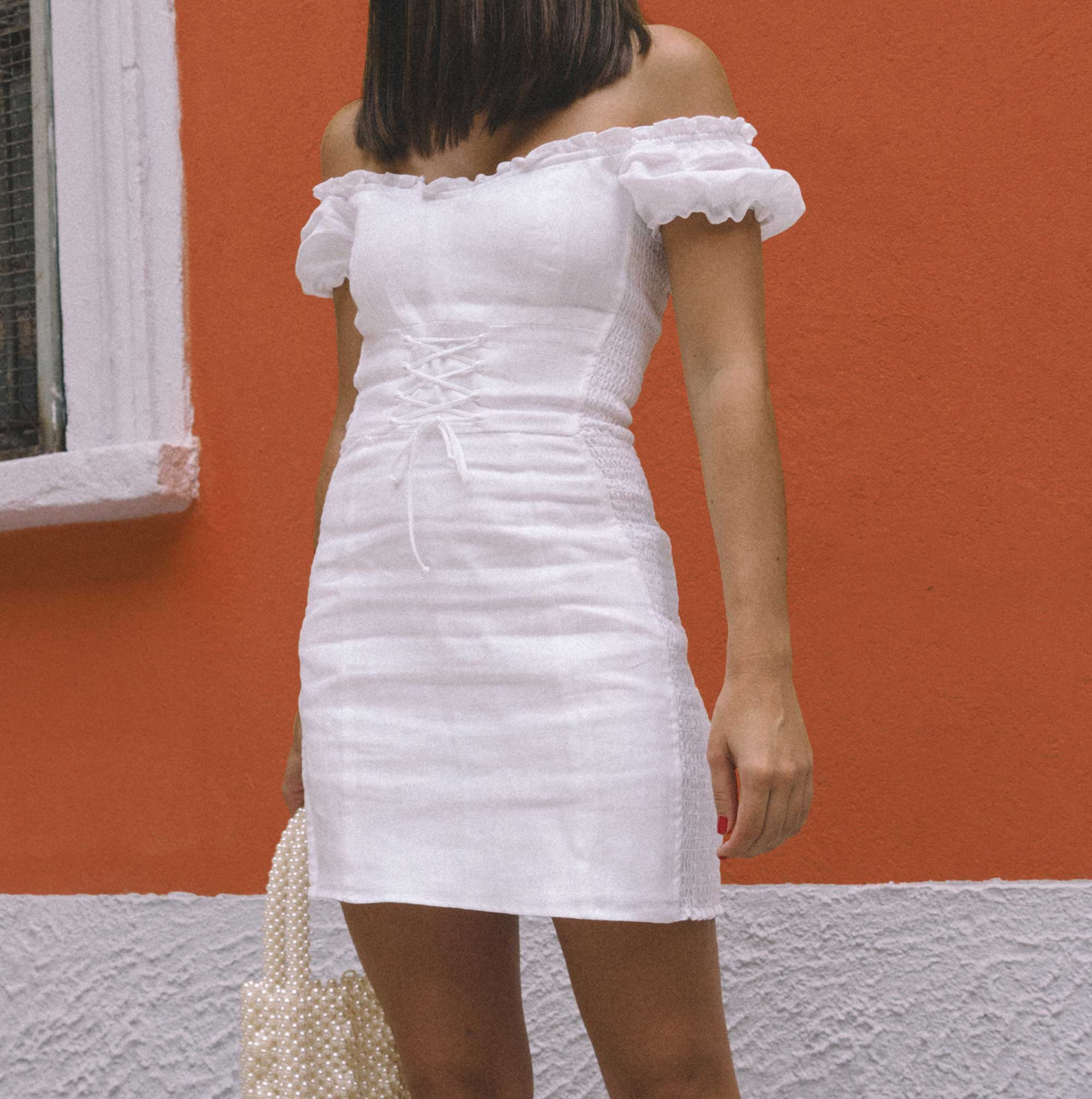 Reformation white off the shoulder linen mini dress with center front lace up6.jpg