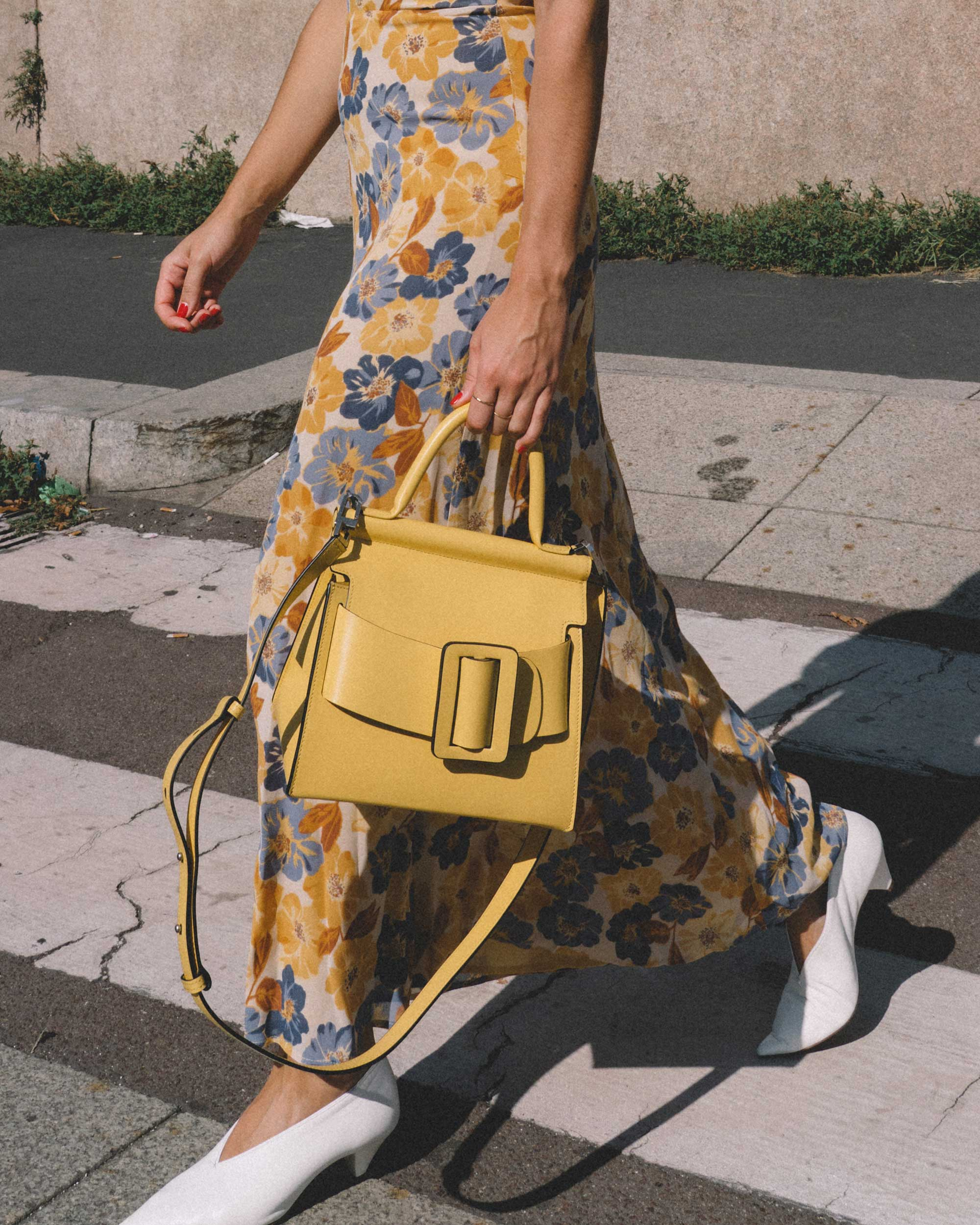 Yellow Floral midi length dress and Boyy Karl 24 buckled leather tote yellow-4.jpg