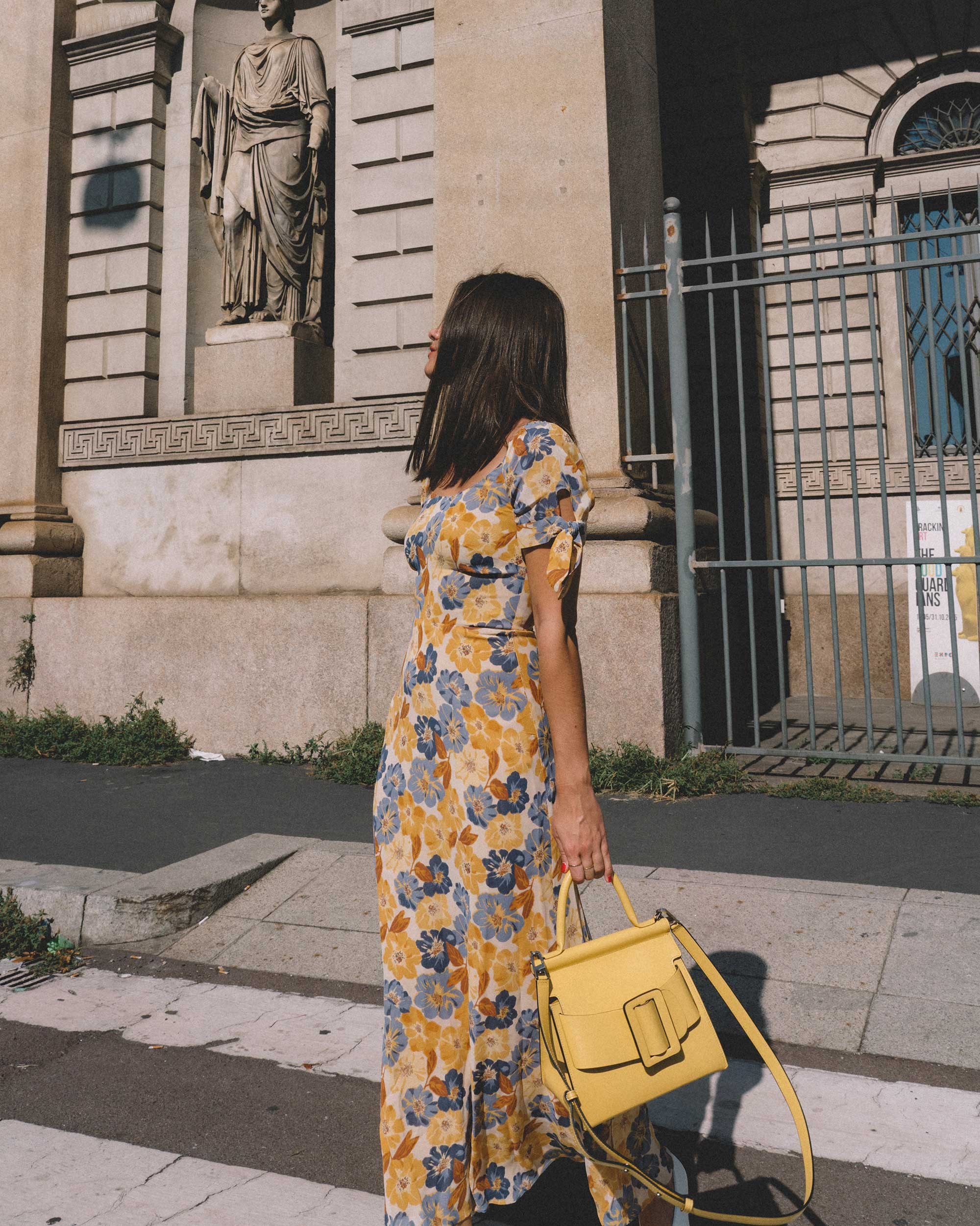 Yellow Floral midi length dress and Boyy Karl 24 buckled leather tote yellow-7.jpg