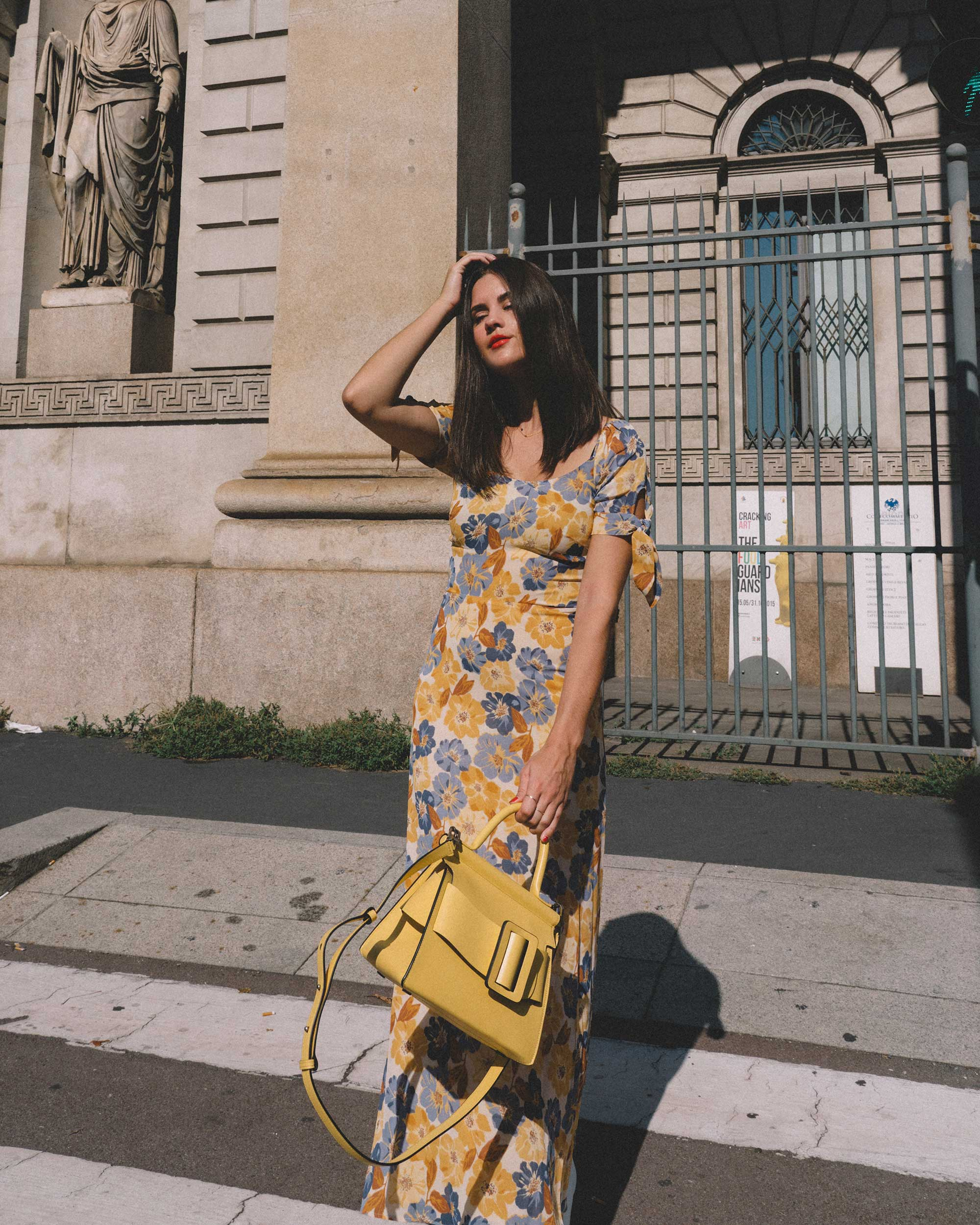 Yellow Floral midi length dress and Boyy Karl 24 buckled leather tote yellow-.jpg
