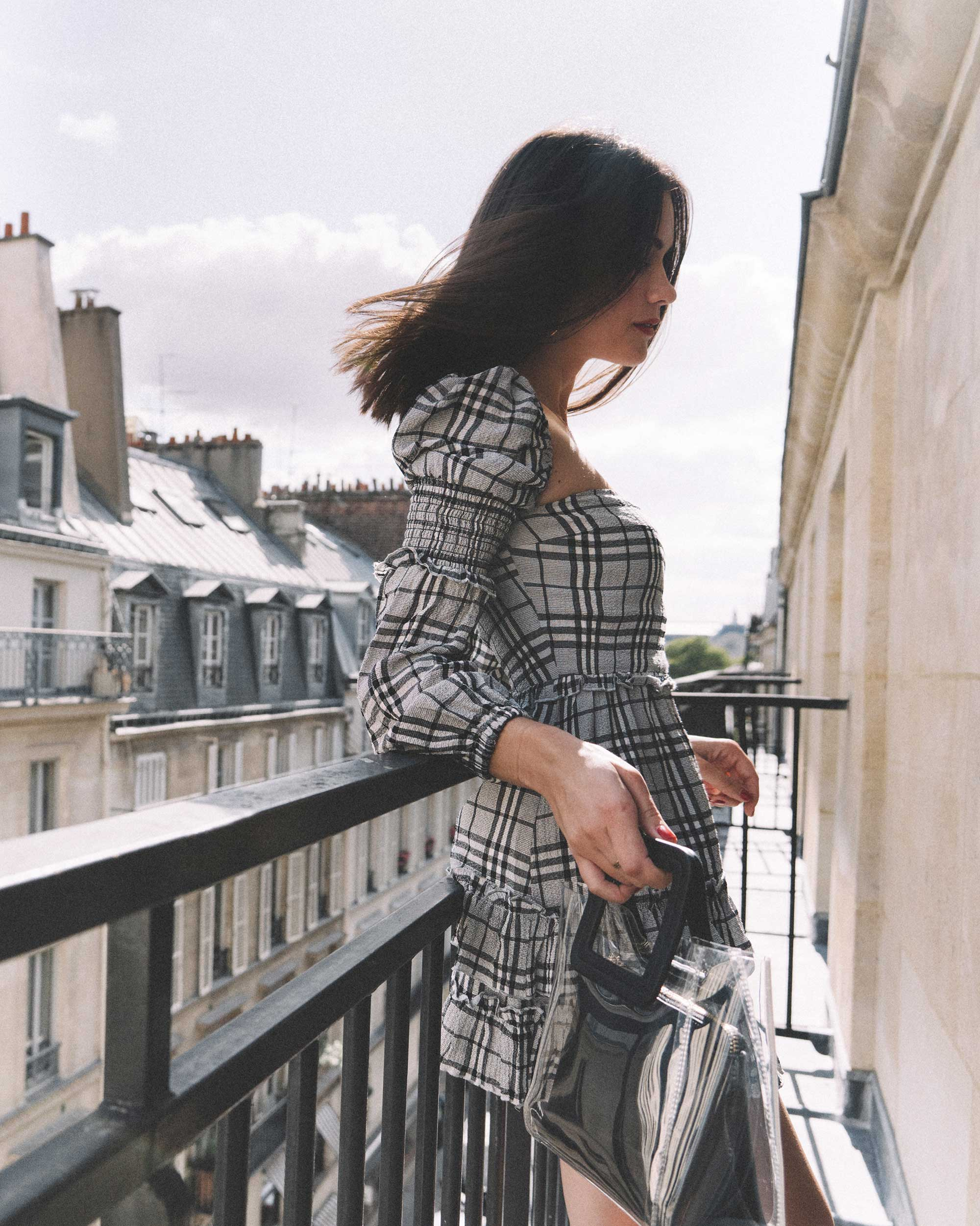 MAJORELLE Plaid Long Sleeve Dress Paris Girl Balcony Outfit1.jpg